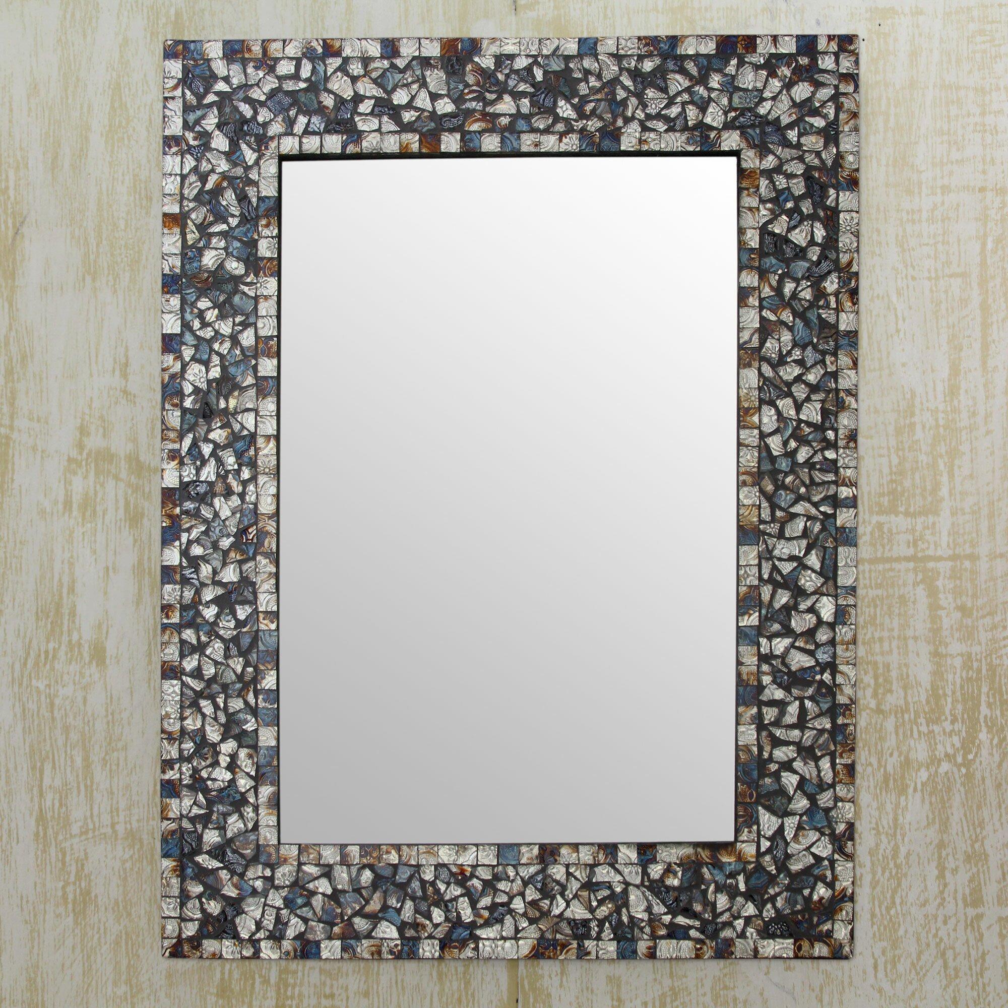 Novica glass mosaic wall mirror wayfair for Mosaic mirror