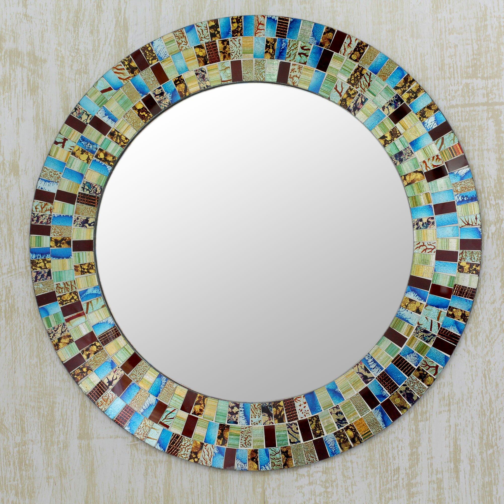 Novica retro dance disco style mosaic circular wall mirror for Mosaic mirror