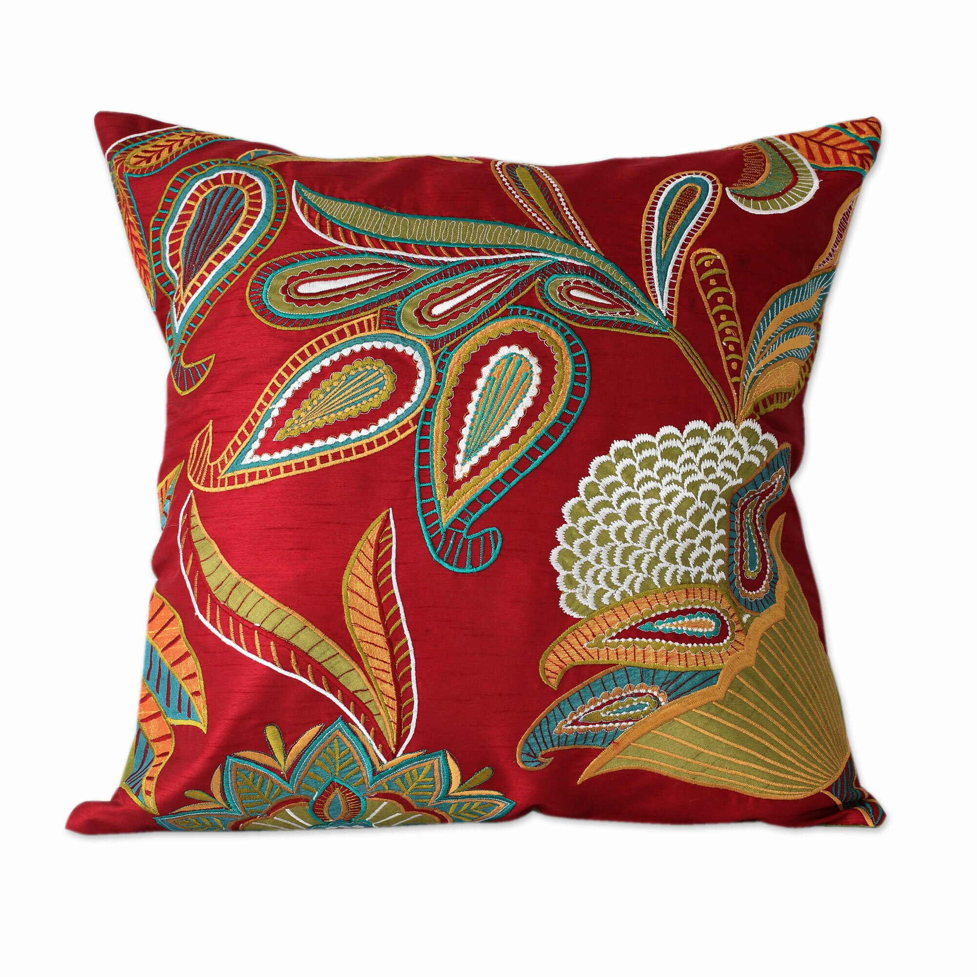 Throw Pillows Horchow : Novica Seema Handmade Embroidered Applique Throw Pillow Cover & Reviews Wayfair