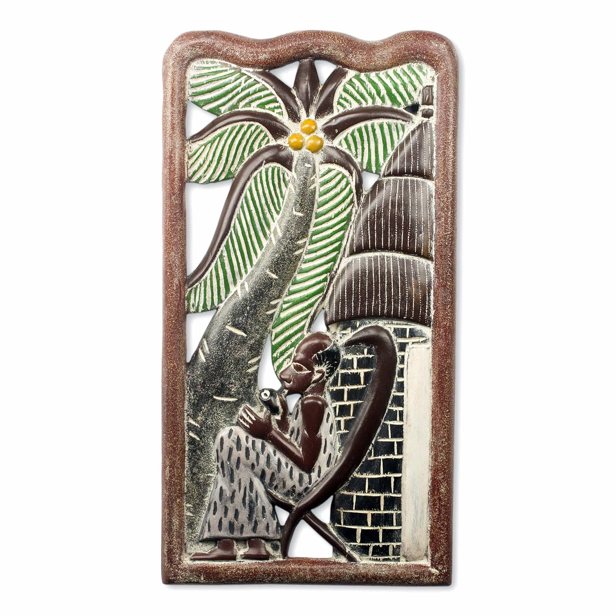 Novica rejuvenate handmade sculpture carved from wood for African wall decoration