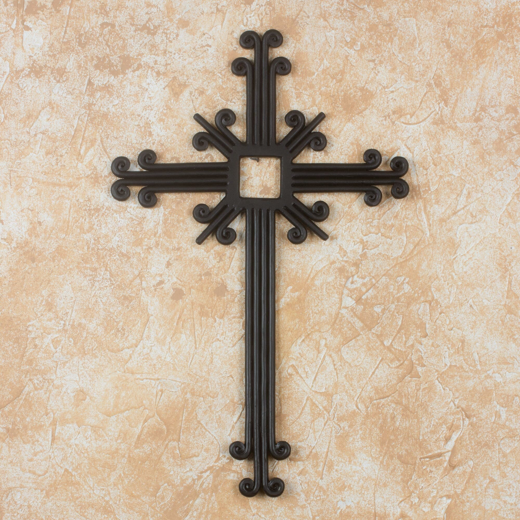 Novica Byron Toscano Wrought Iron Wall Cross Artisan ...