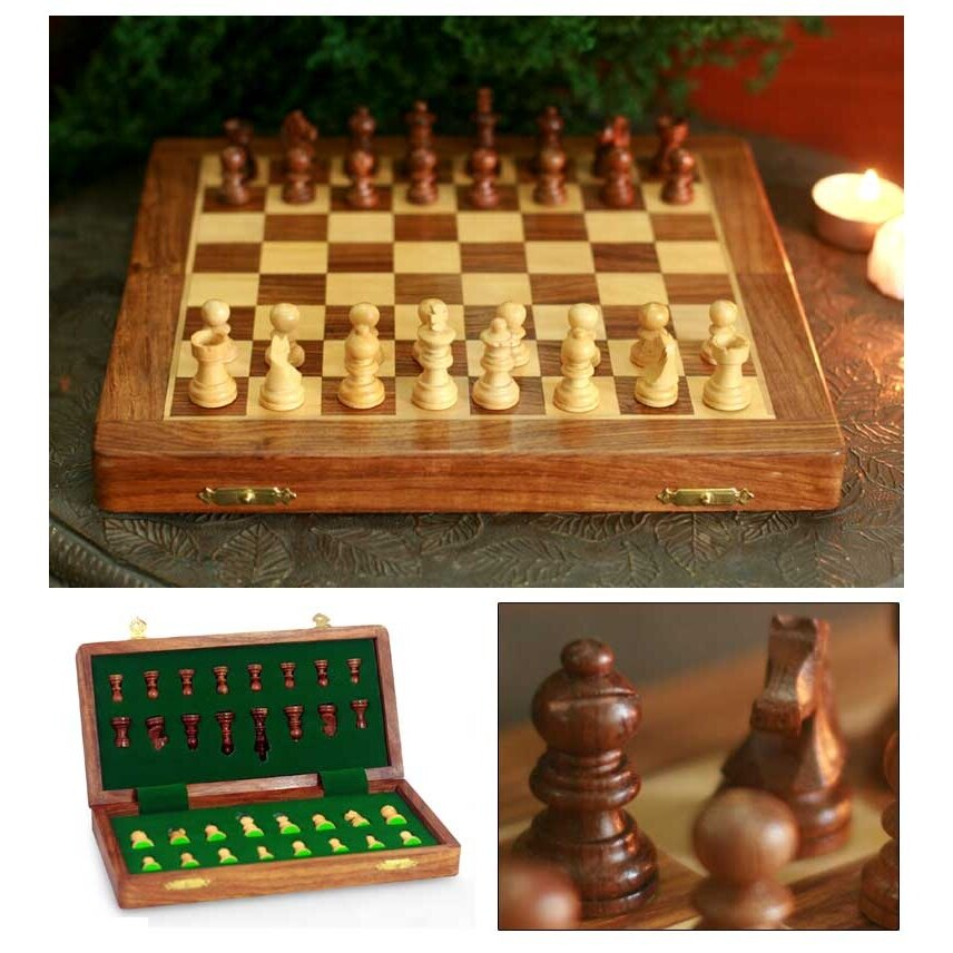 Novica rakesh pathak decorative handcrafted medium wood chess set reviews wayfair - Ornate chess sets ...