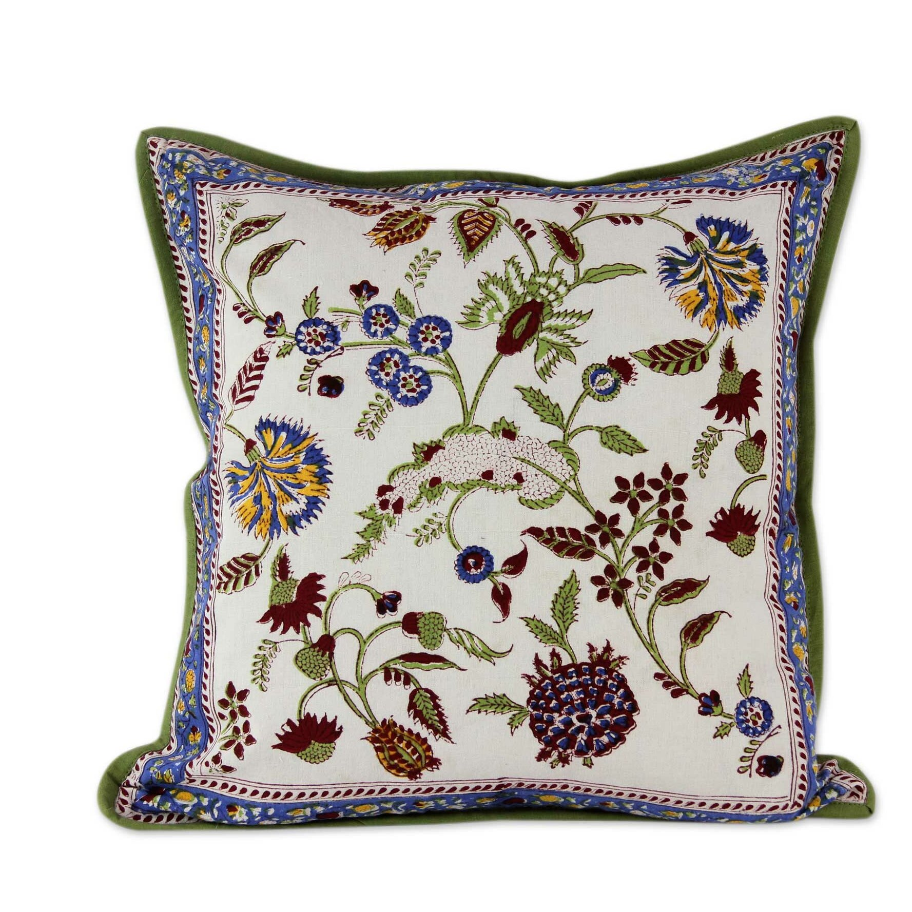 novica sonik sethi indian block print floral motif cotton throw pillow cover wayfair. Black Bedroom Furniture Sets. Home Design Ideas