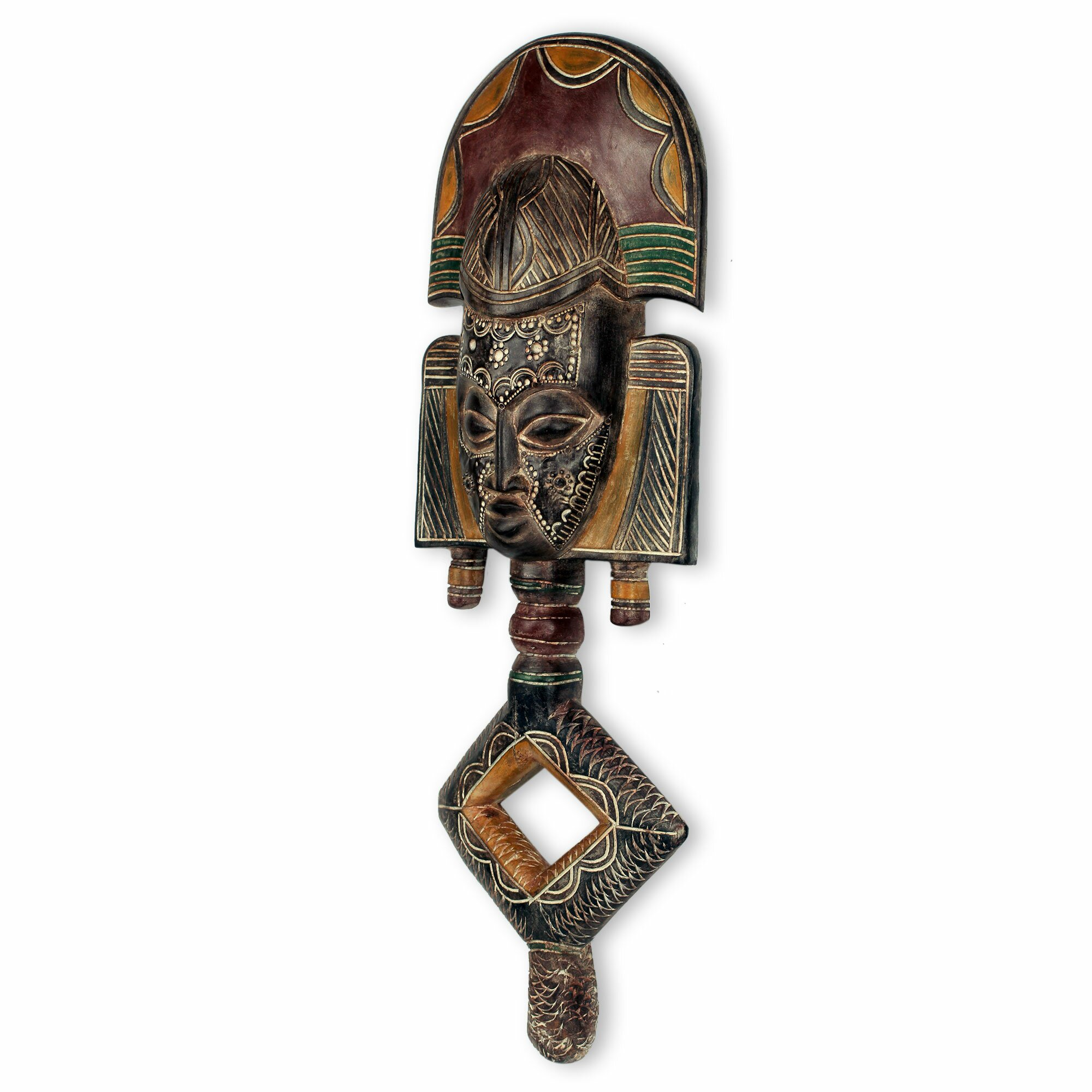 Novica ossyeba reliquary african wood mask wall d cor for African wall decoration