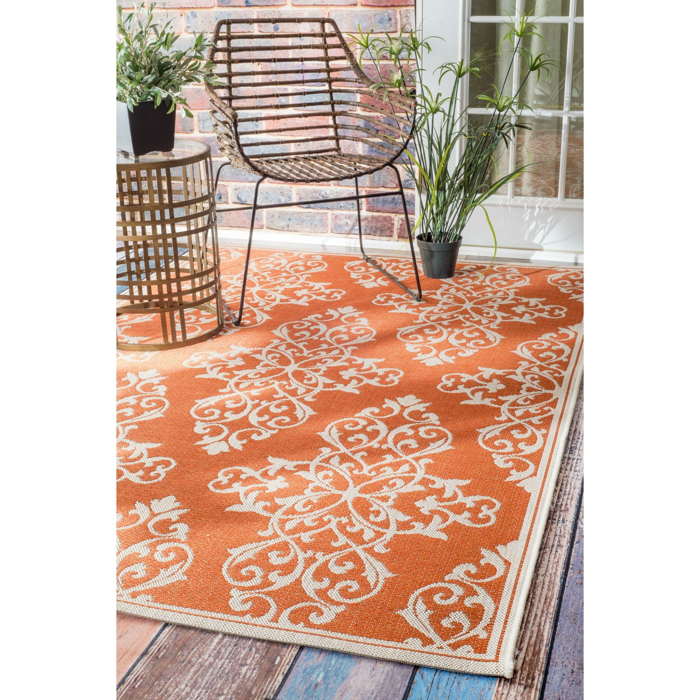 nuLOOM Bivins Orange Indoor Outdoor Area Rug & Reviews