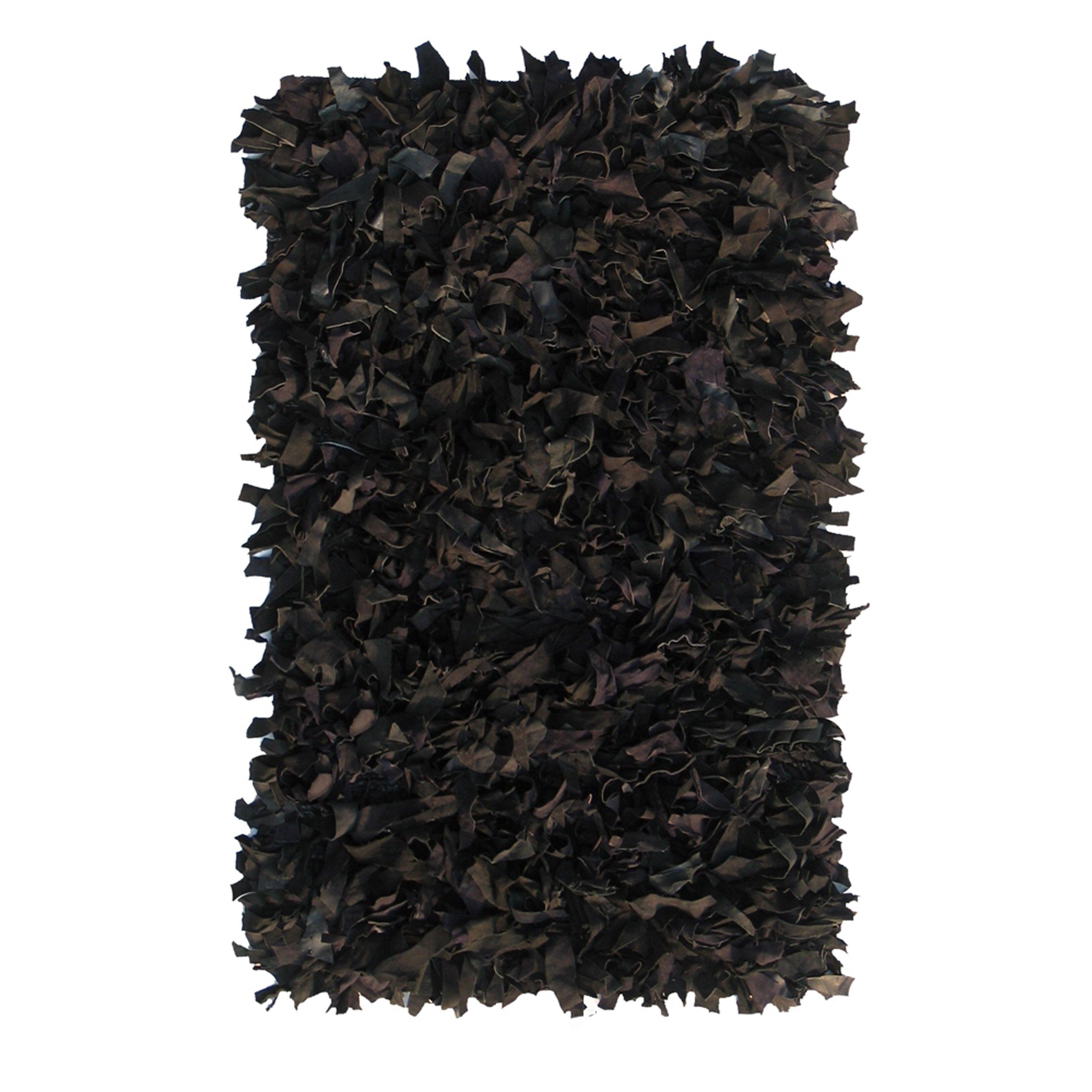Nuloom Leather Shag Woven Black Area Rug Reviews Wayfair