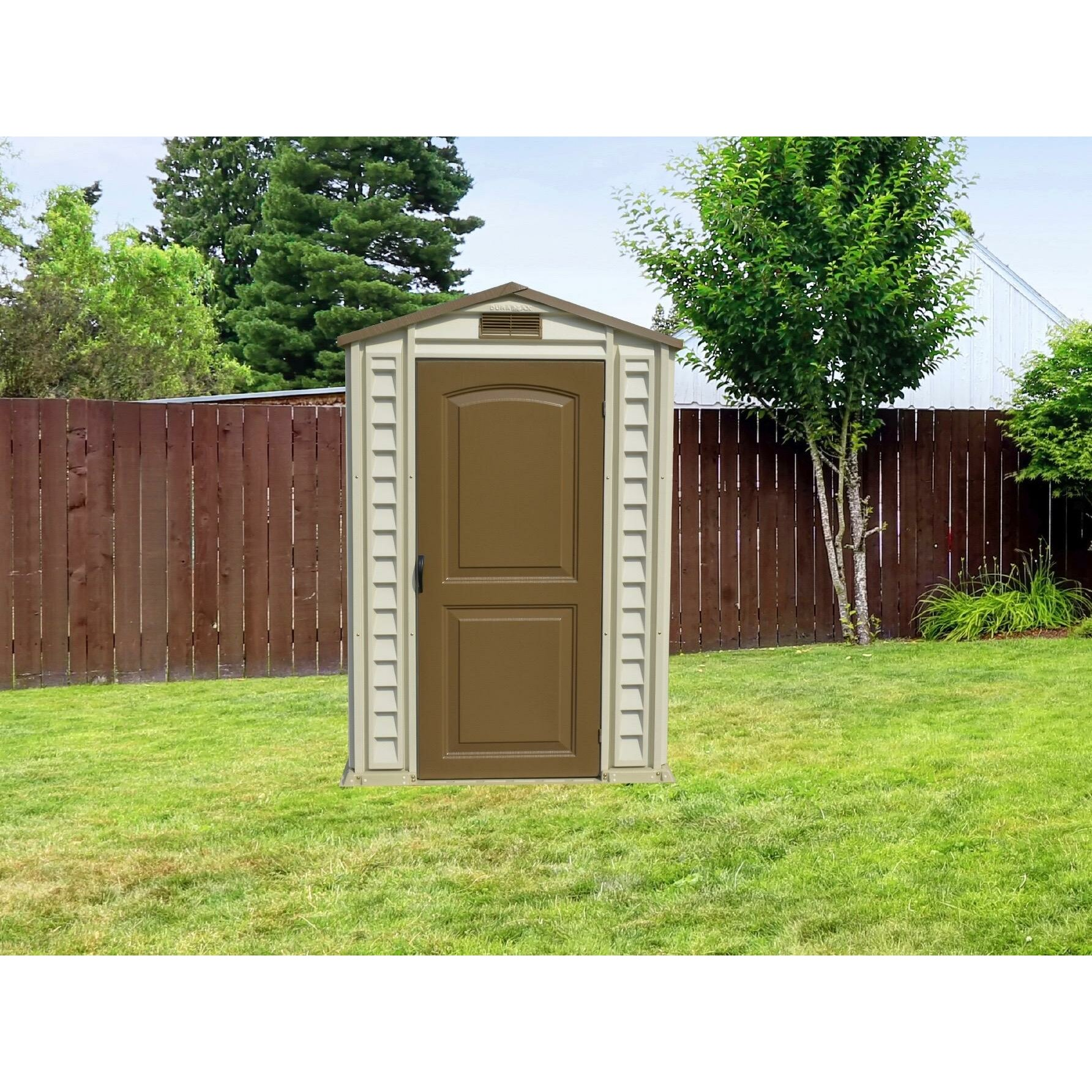 Duramax 4 ft w x 6 ft d fire retardant vinyl storage for Garden shed 4 x 3