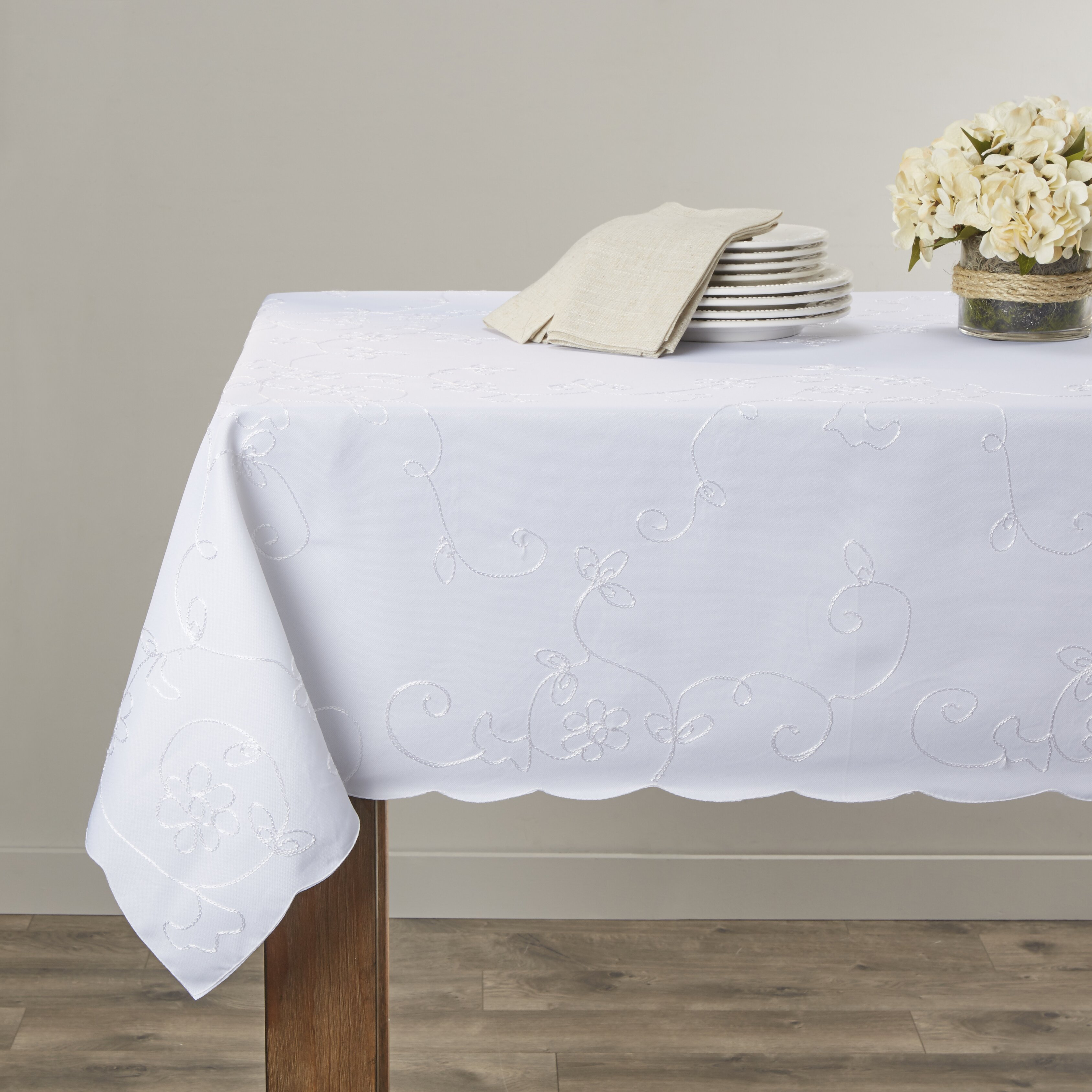 Violet Linen Dublin Embroidered Tablecloth Amp Reviews Wayfair