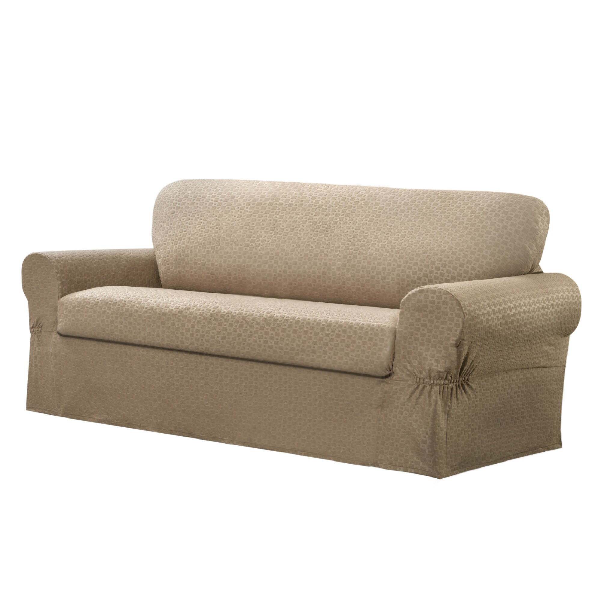 Maytex Conrad Stretch 2 Piece Loveseat Box Cushion Slipcover Set Reviews Wayfair