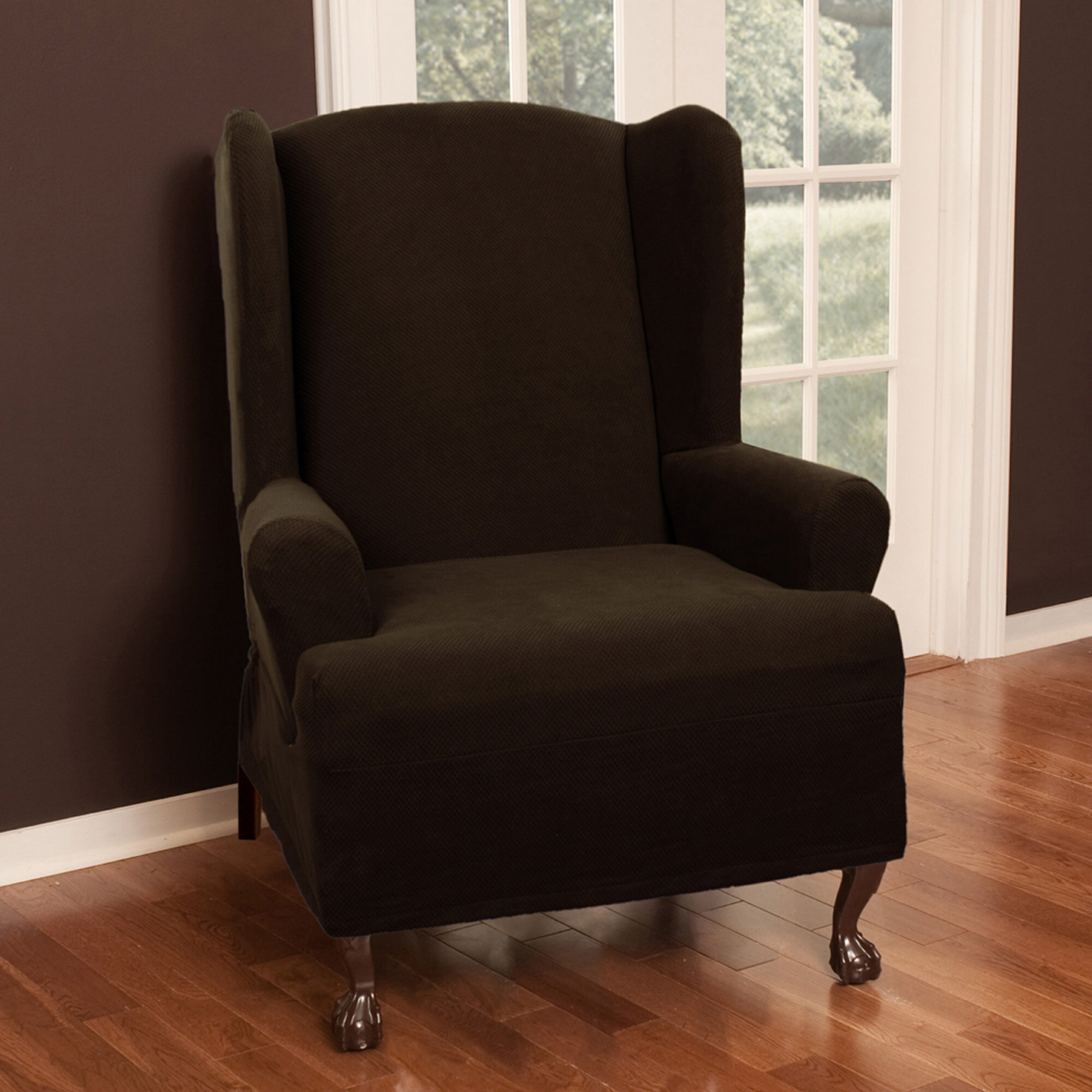 Maytex Pixel Stretch Wing Chair T Cushion Slipcover