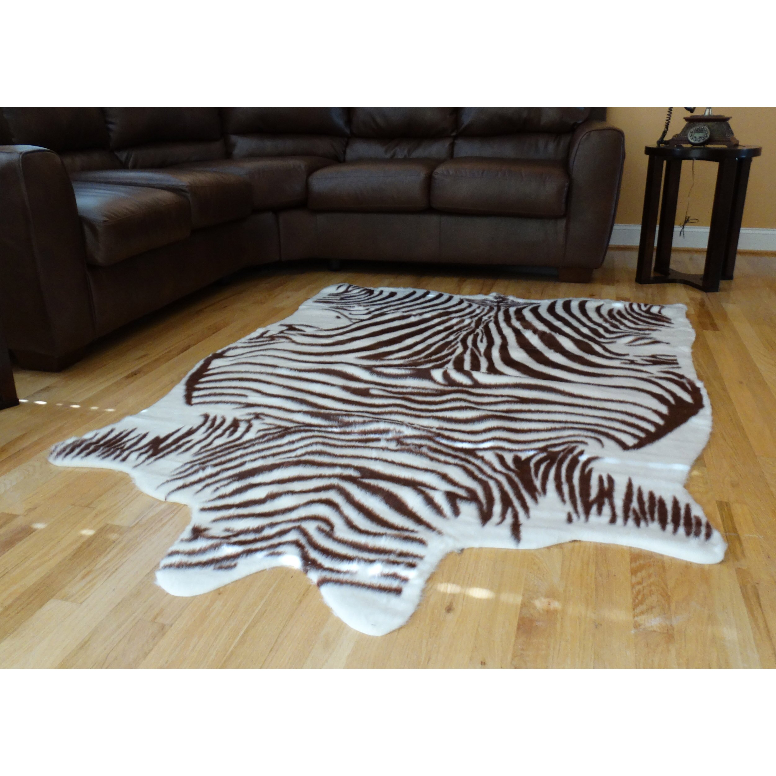 Acura Rugs Animal Hide Brown/White Zebra Area Rug