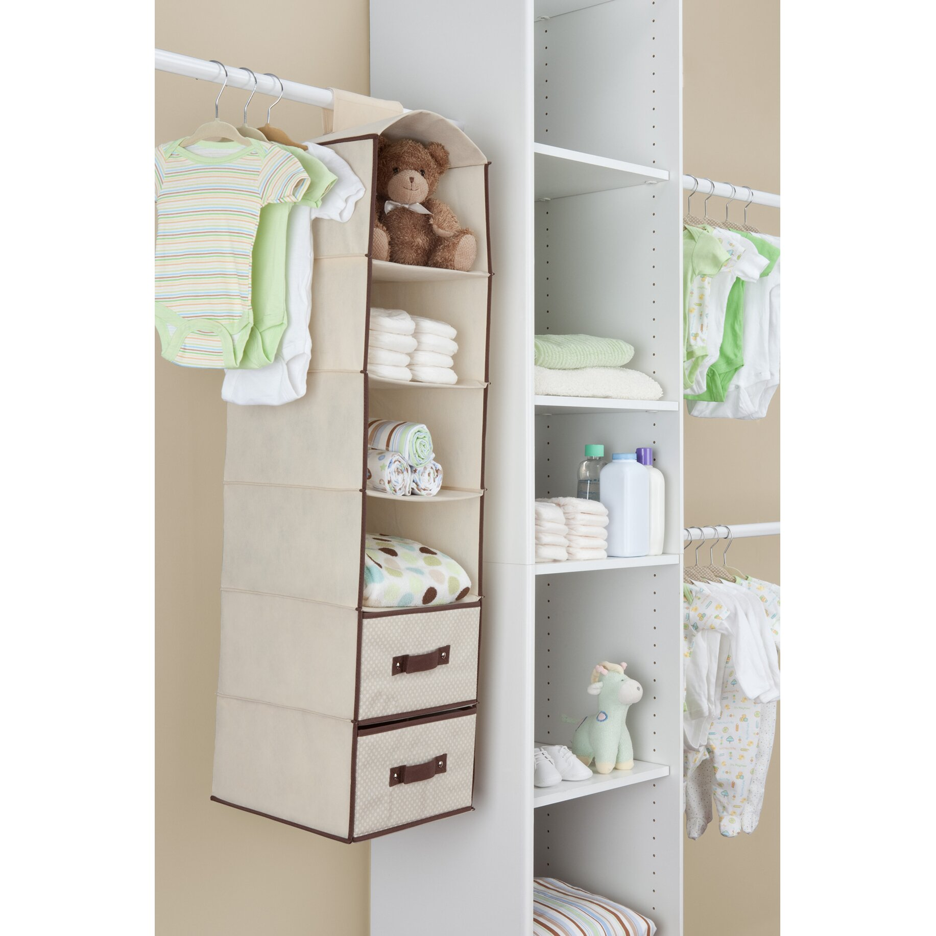 Delta children children nursery hanging organizer with for Nursery hanging storage