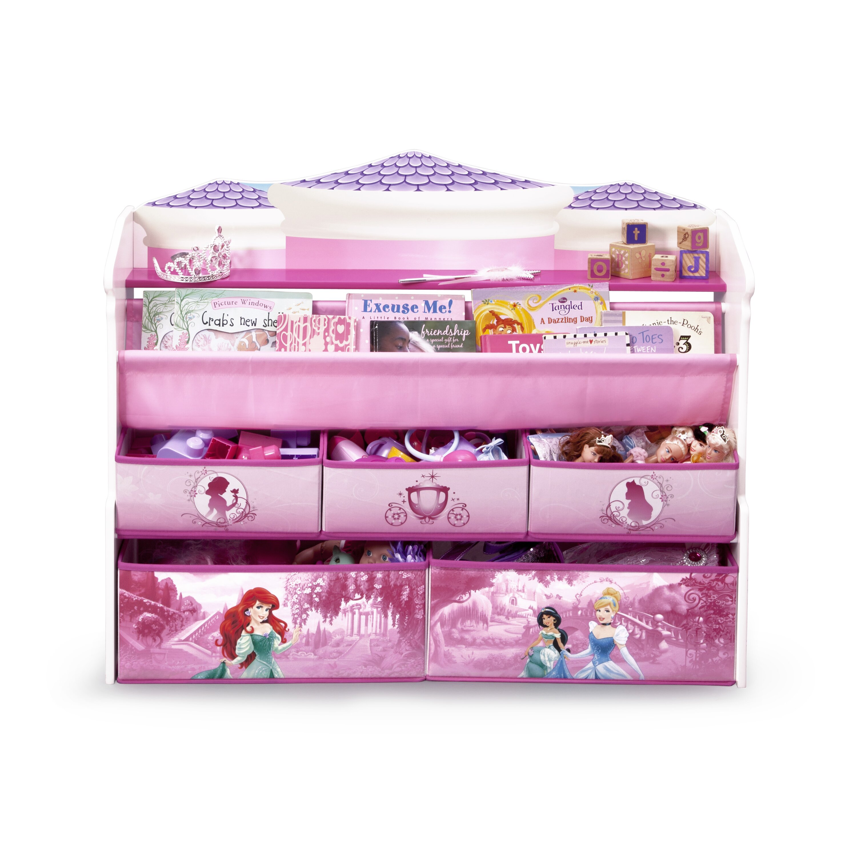 Delta children disney princess deluxe book toy organizer for Toy and book storage