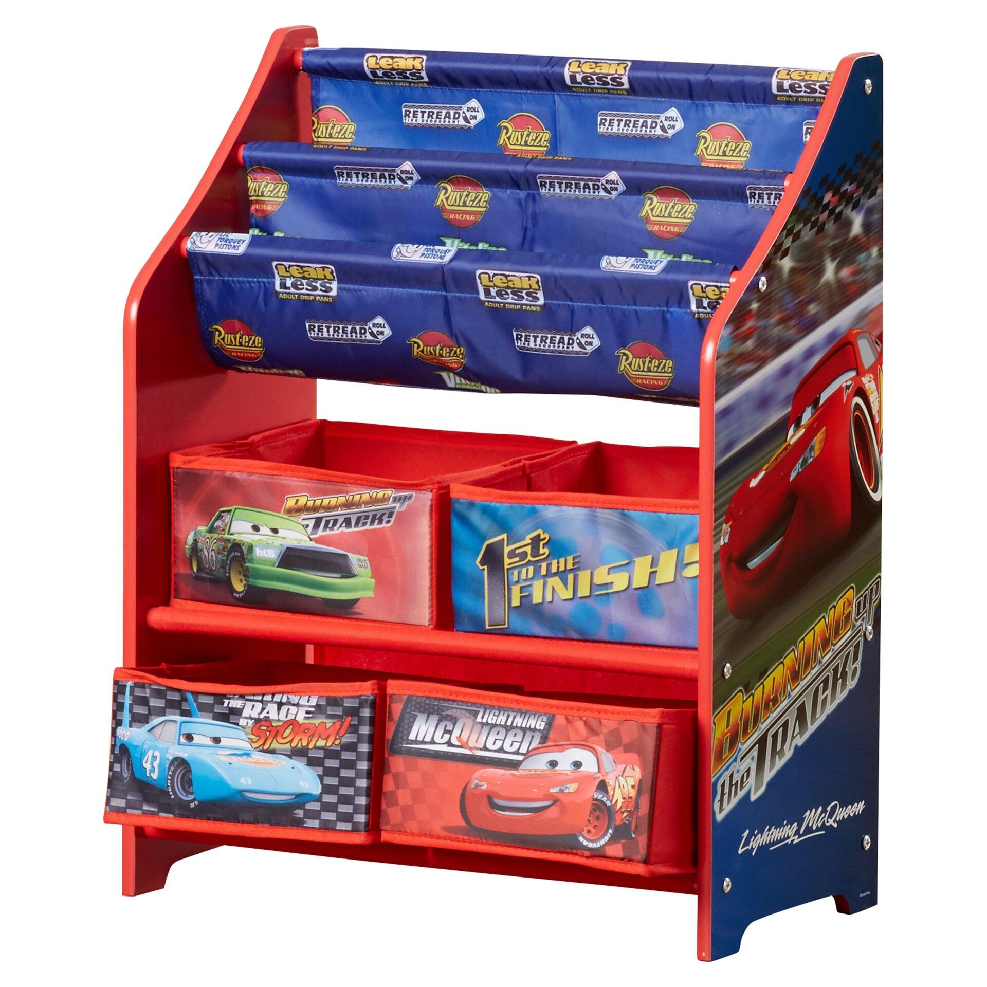 Delta children disney pixar cars book toy organizer for Toy and book storage