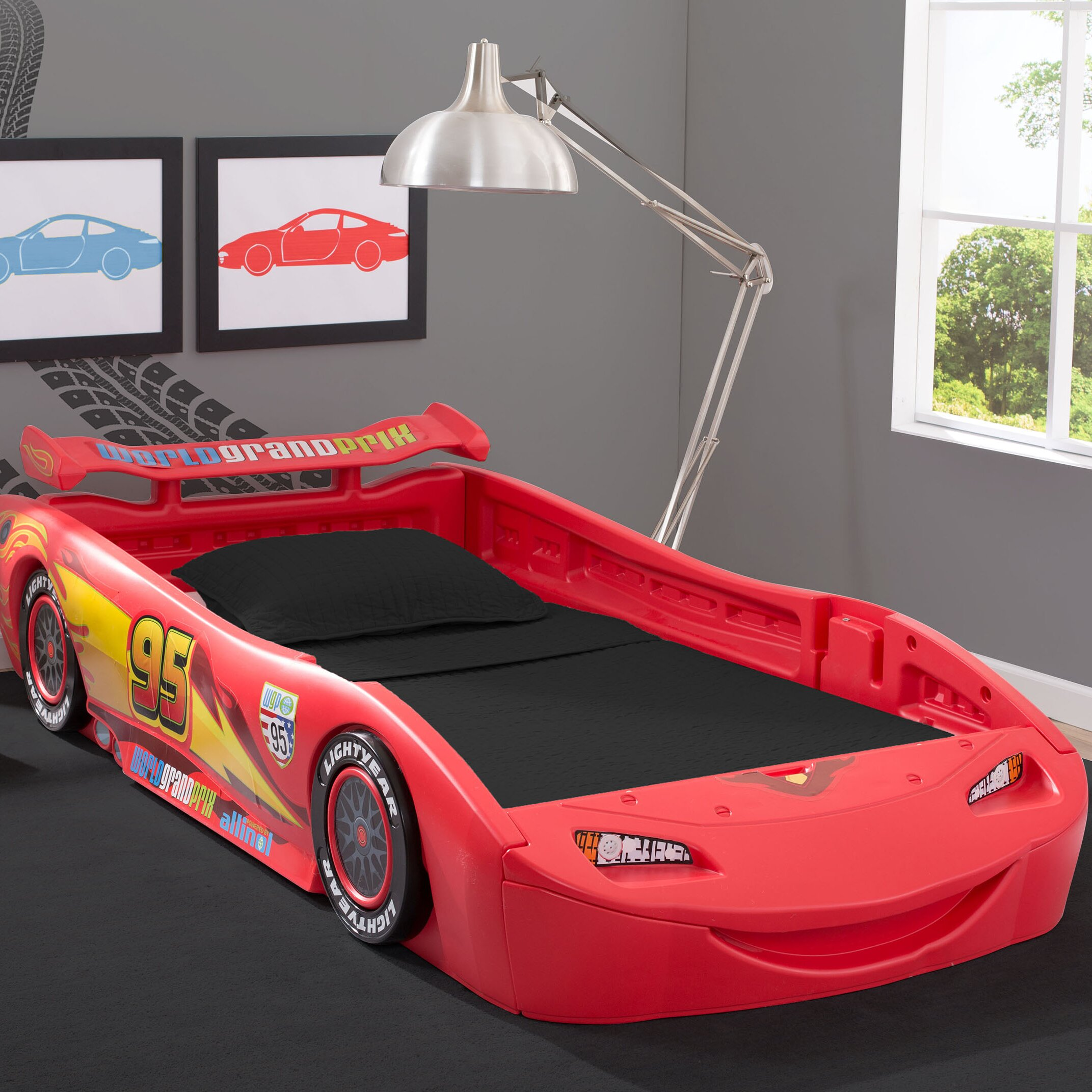 Delta children disney pixar cars twin bed with lights for Disney pixar cars bedroom ideas