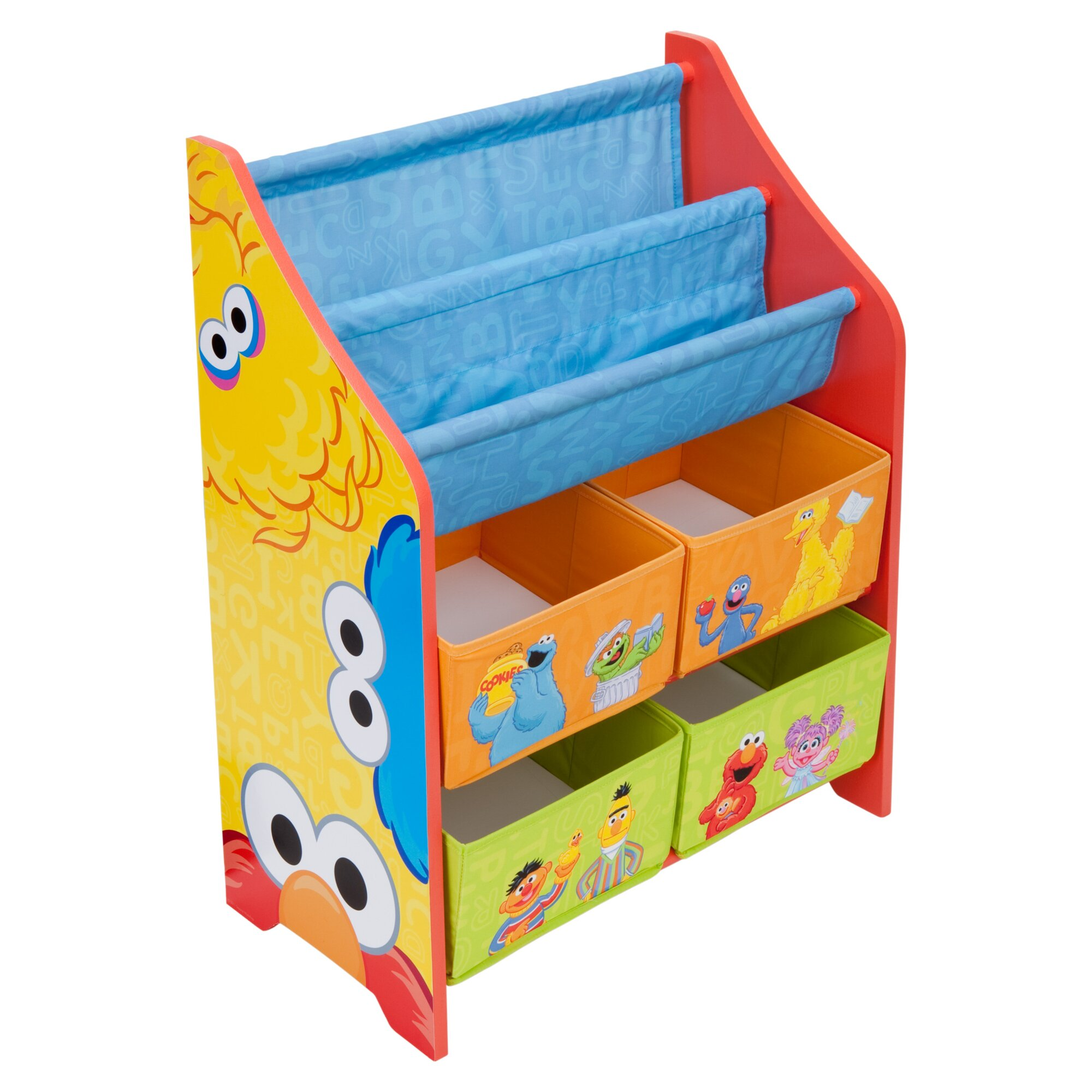Delta children sesame street book and toy organizer for Toy and book storage