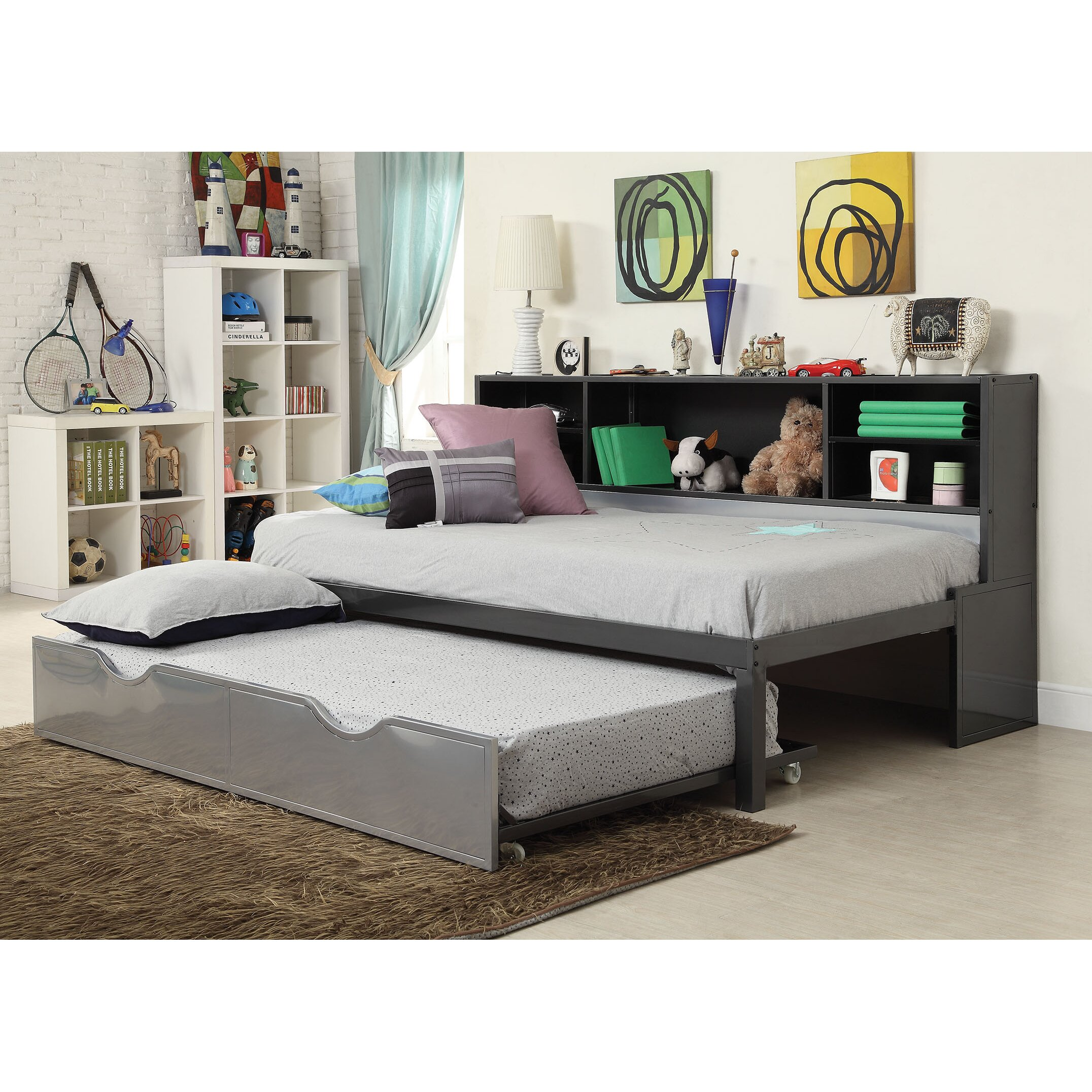 acme furniture renell panel bed with bookcase and trundle wayfair. Black Bedroom Furniture Sets. Home Design Ideas