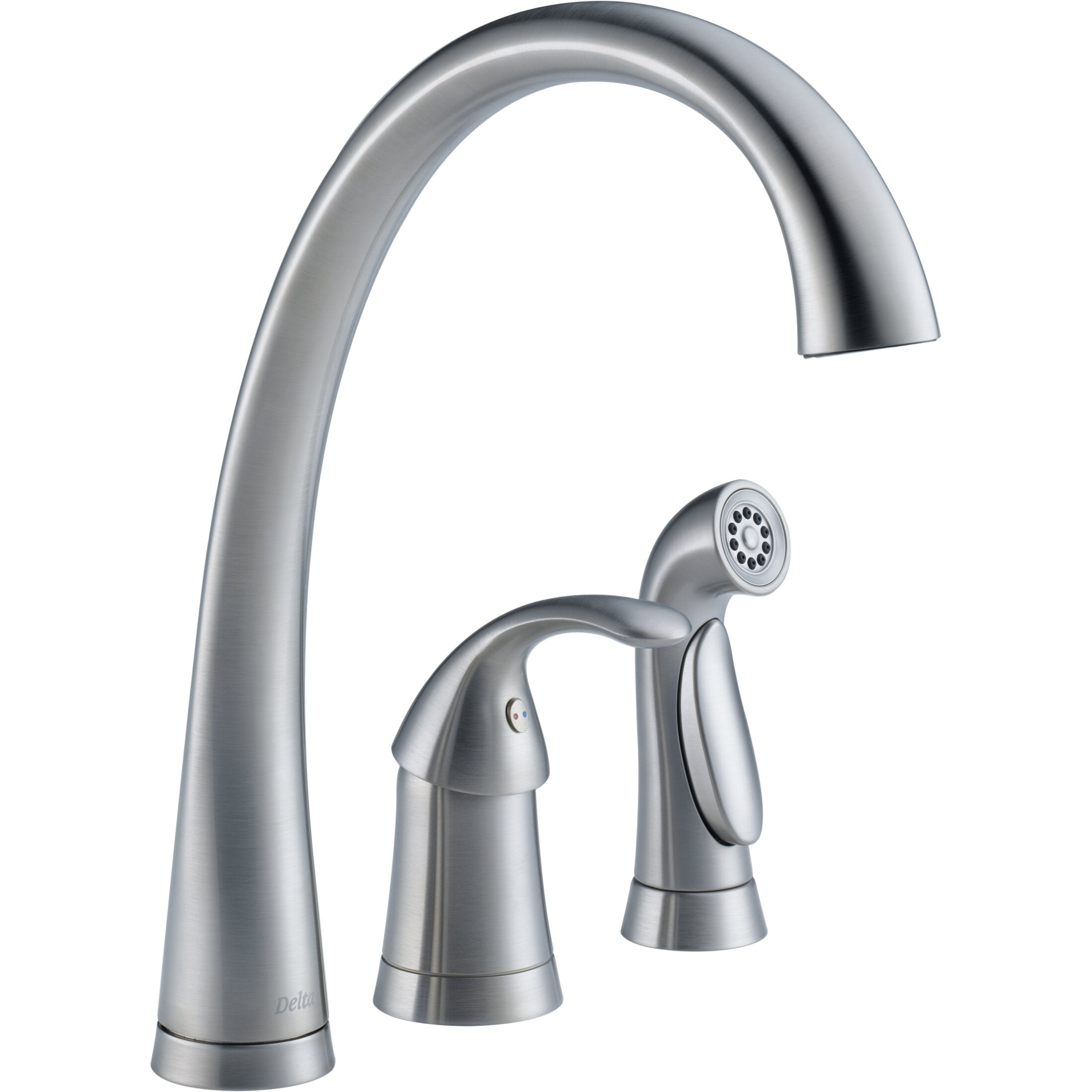 delta pilar single handle deck mounted kitchen faucet with