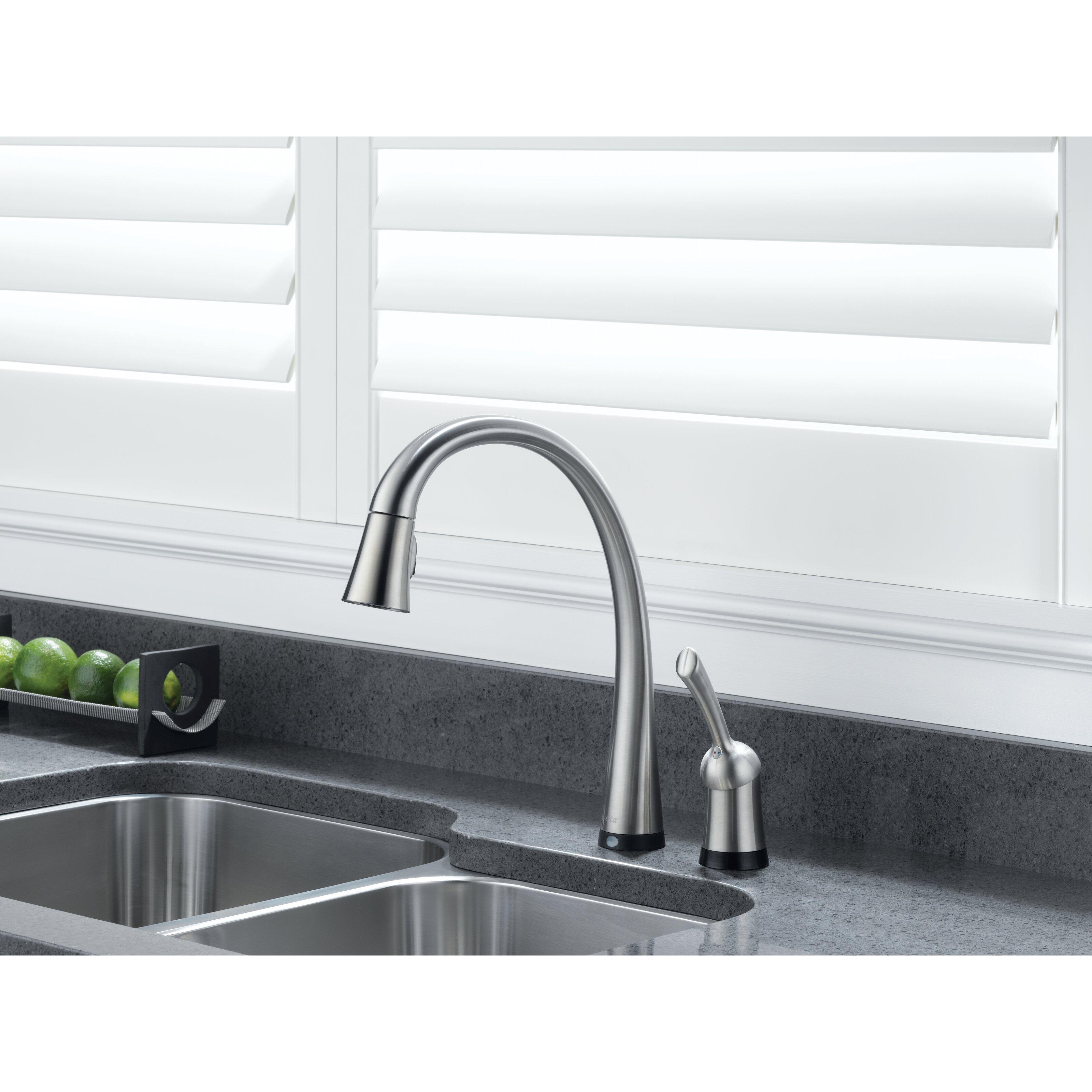delta pilar single handle standard kitchen faucet with