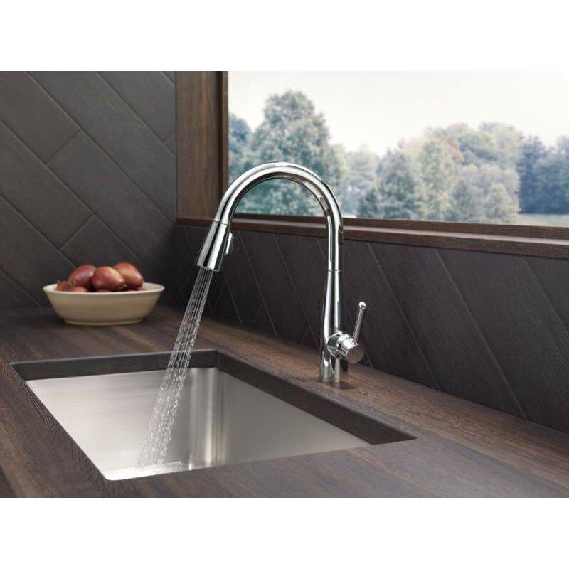 delta essa single handle pull down standard kitchen faucet delta deluca single handle pull down sprayer kitchen