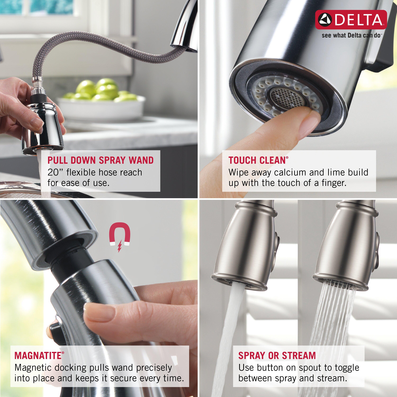 delta essa single handle pull down standard kitchen faucet
