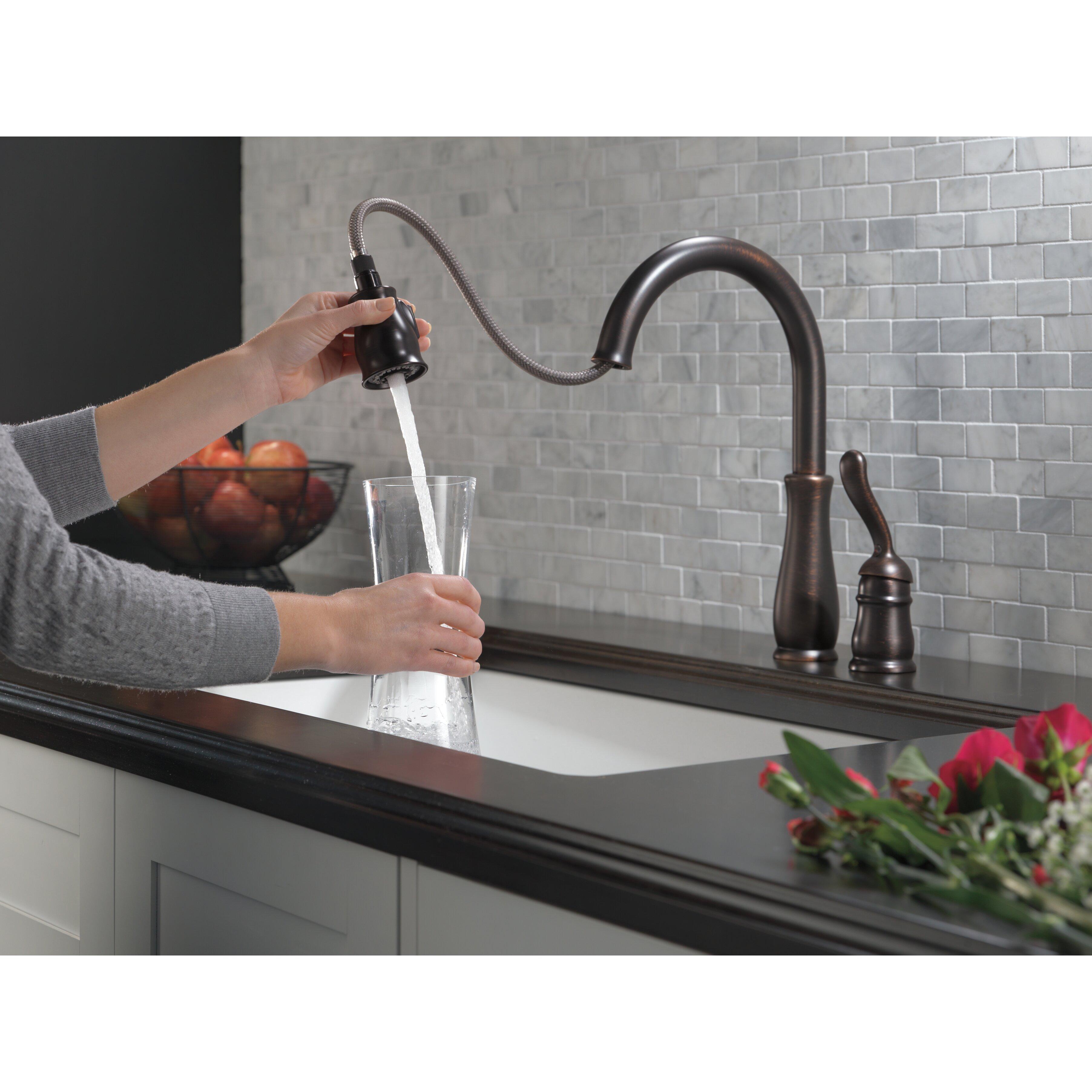 delta leland single handle pull down standard kitchen delta 9178t leland kitchen faucet review plumbersstock blog