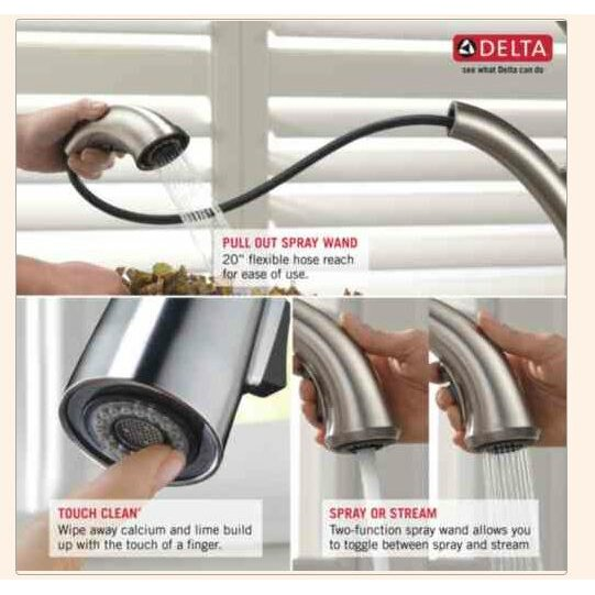 Delta 4453-DST Linden DST Single Handle Kitchen Faucet with Spray ...