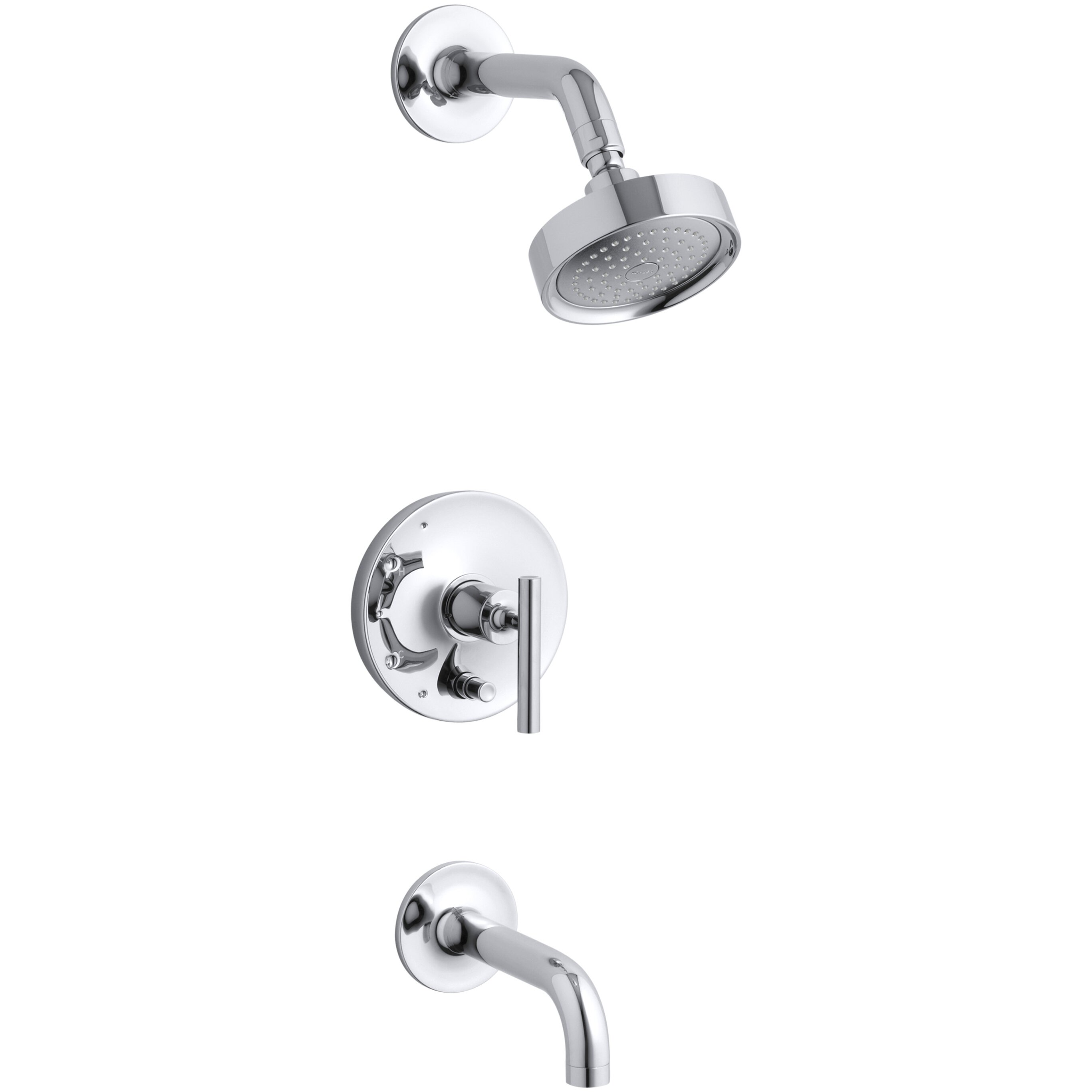 Kohler Purist Rite Temp Pressure Balancing Bath And Shower Faucet Trim With Push Button Diverter