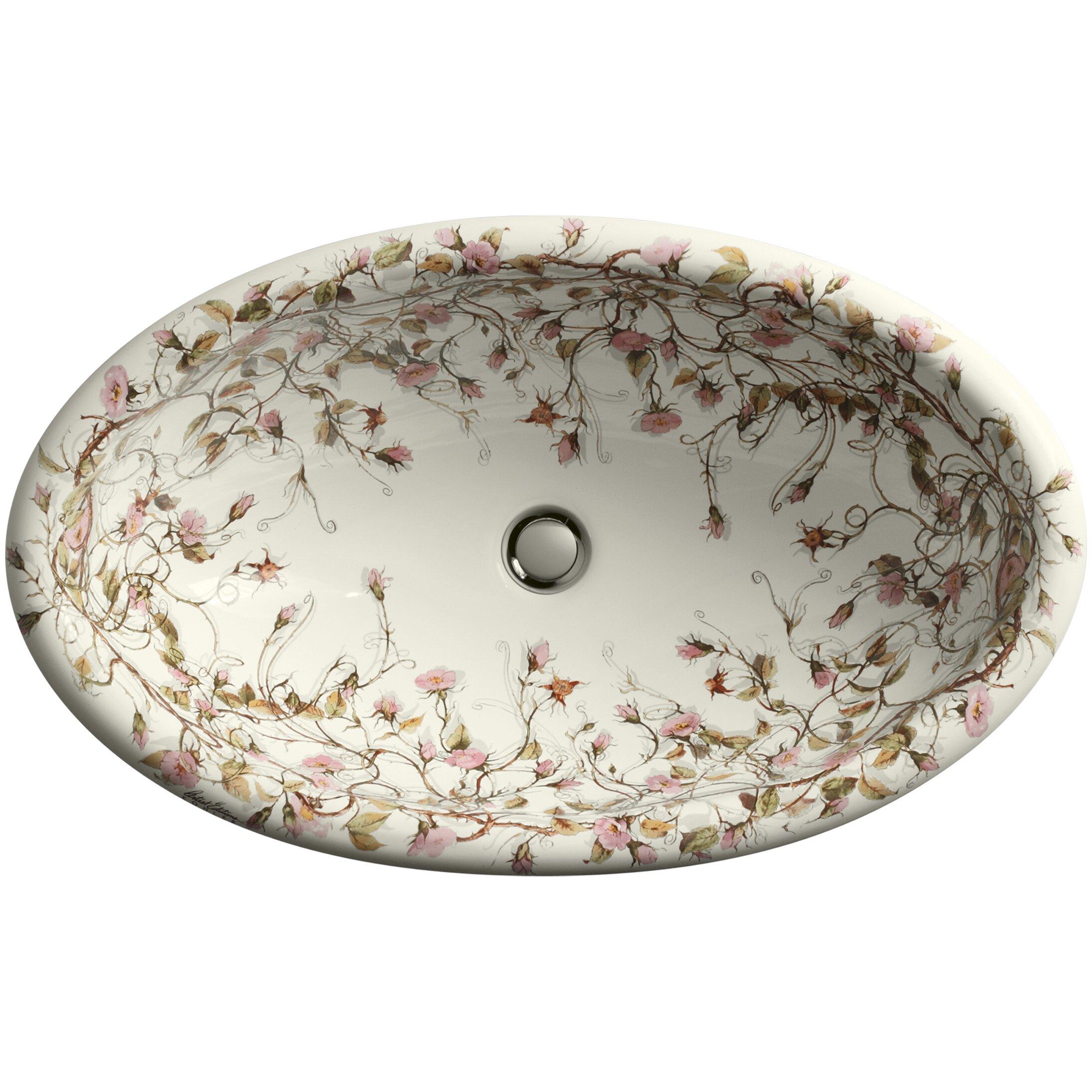 kohler briar rose design on vintage dropin bathroom sink