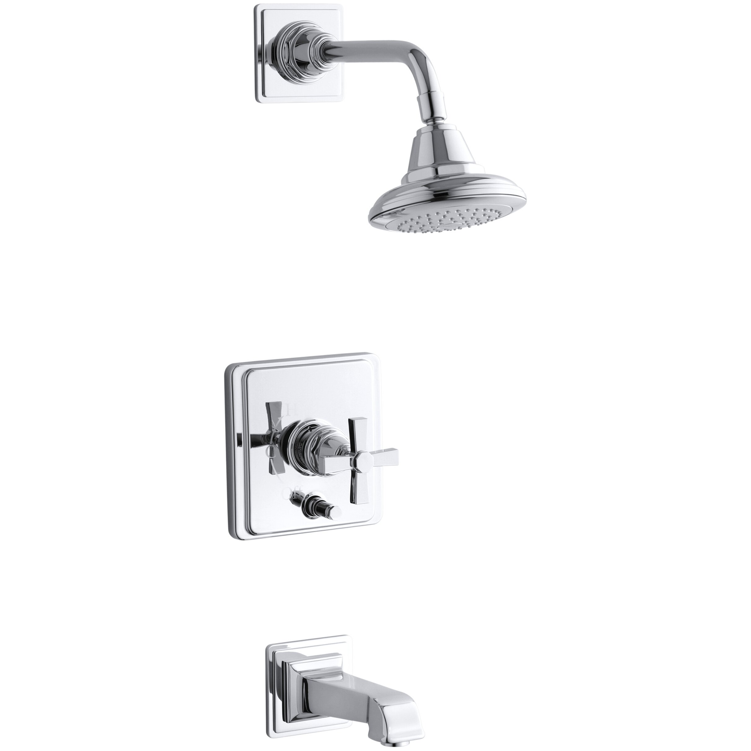 ... Bath and Shower Faucet Trim with Cross Handle, Valve Not Included by