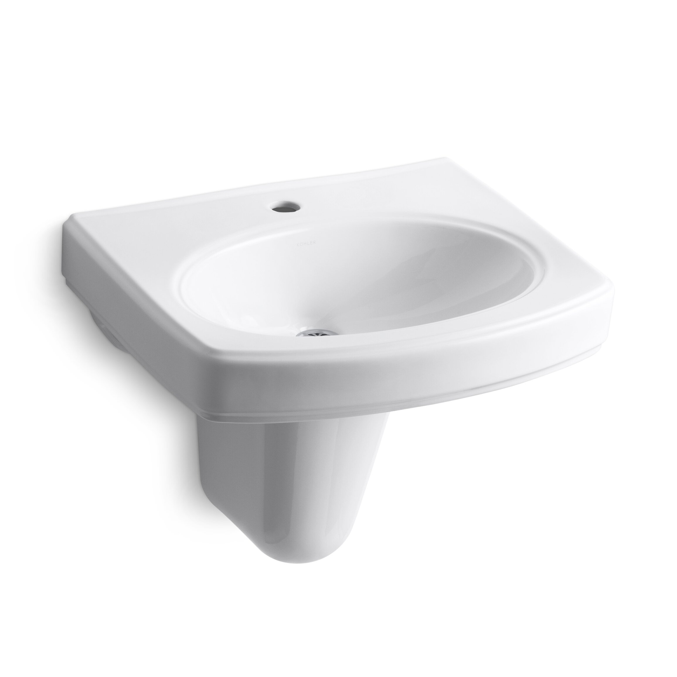 Kohler pinoir wall mount bathroom sink with single faucet - Kohler wall mount bathroom sink faucet ...