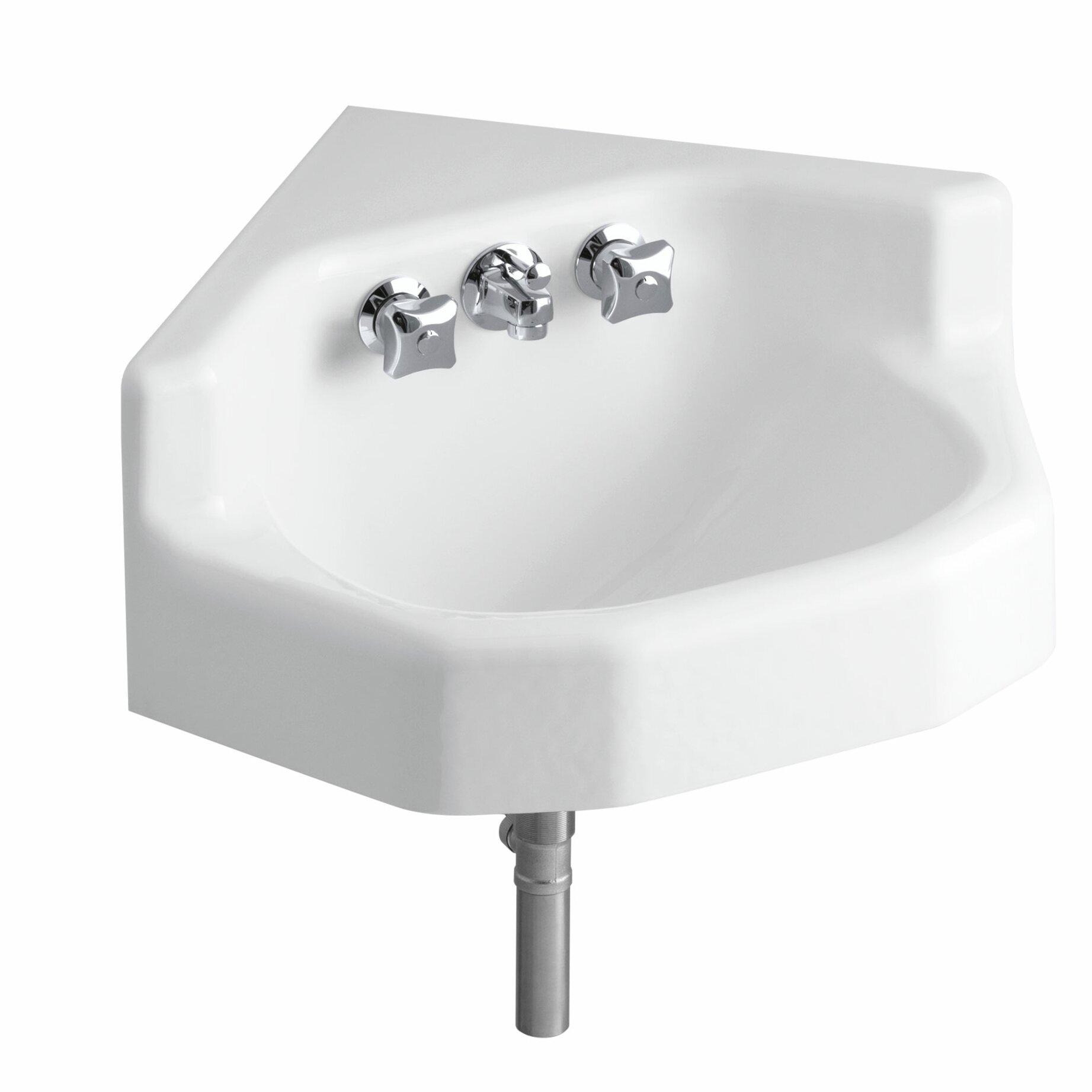 Kohler marston 16 x 16 corner wall mount shelf back - Kohler wall mount bathroom sink faucet ...
