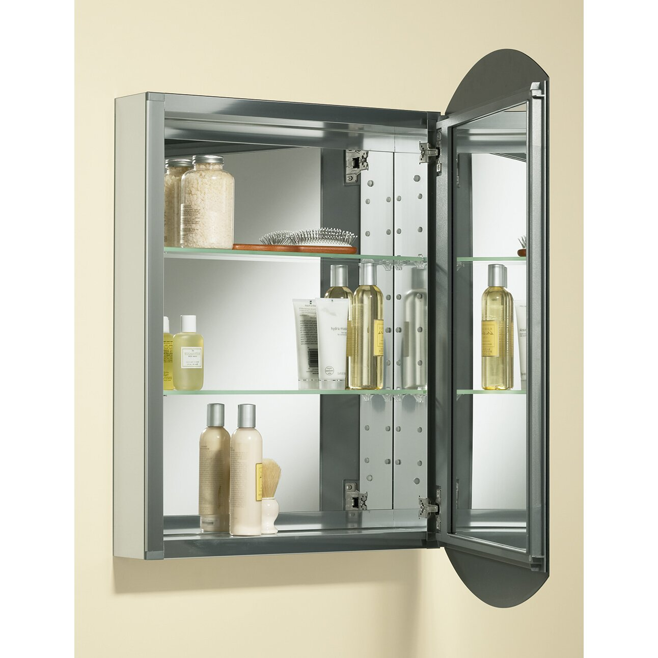 31 aluminum wall mount medicine cabinet with mirrored door by kohler