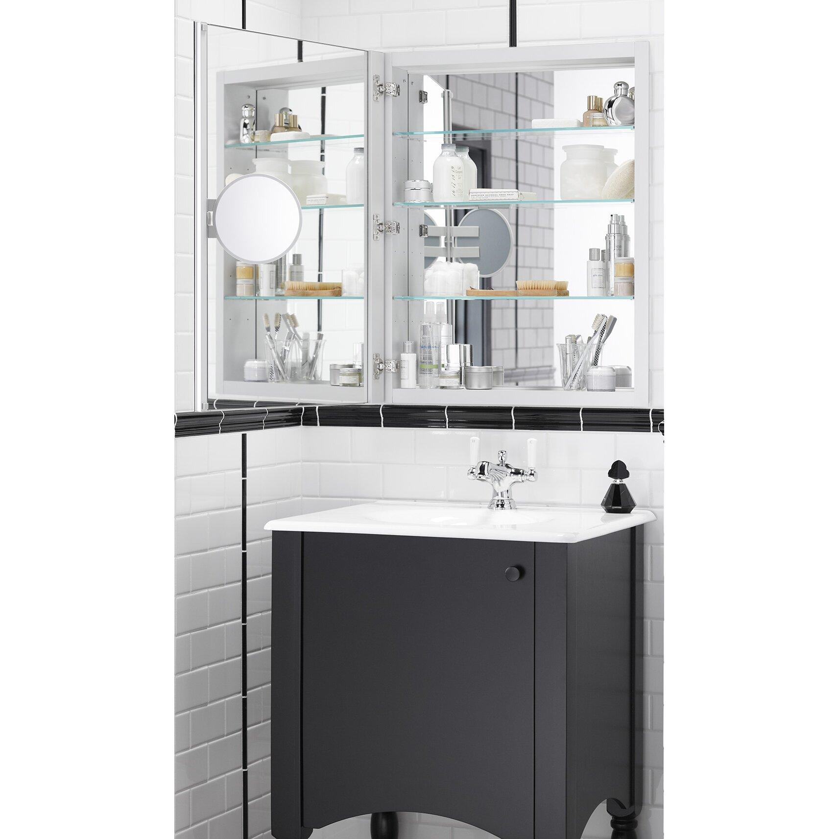 30 h medicine cabinet with adjustable magnifying mirror by kohler