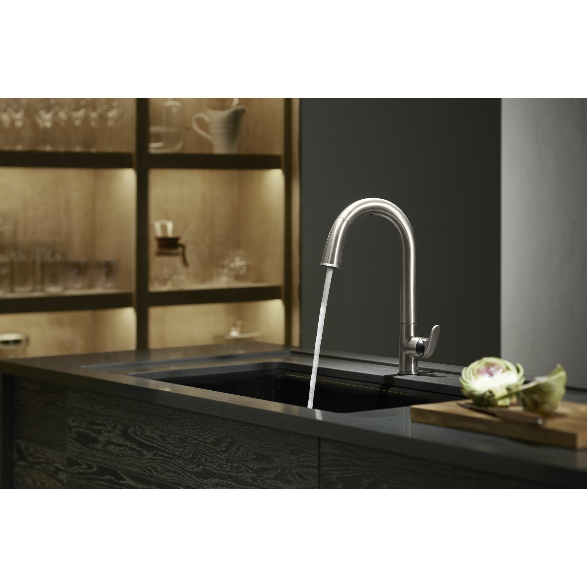 kohler sensate touchless kitchen faucet with 15 1 2 quot pull kohler beckon tm touchless pull down kitchen sink faucet