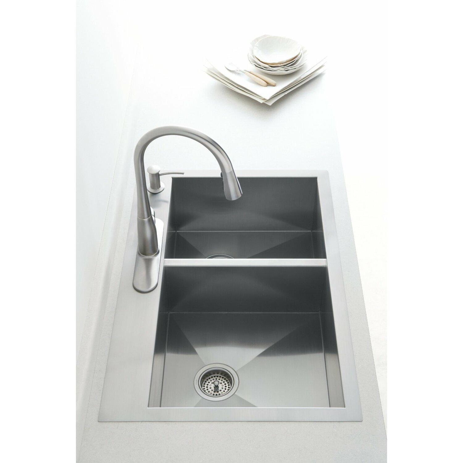 Kohler vault 33 x 22 x 9 5 16 top mount under mount for Best kitchen faucet for double sink