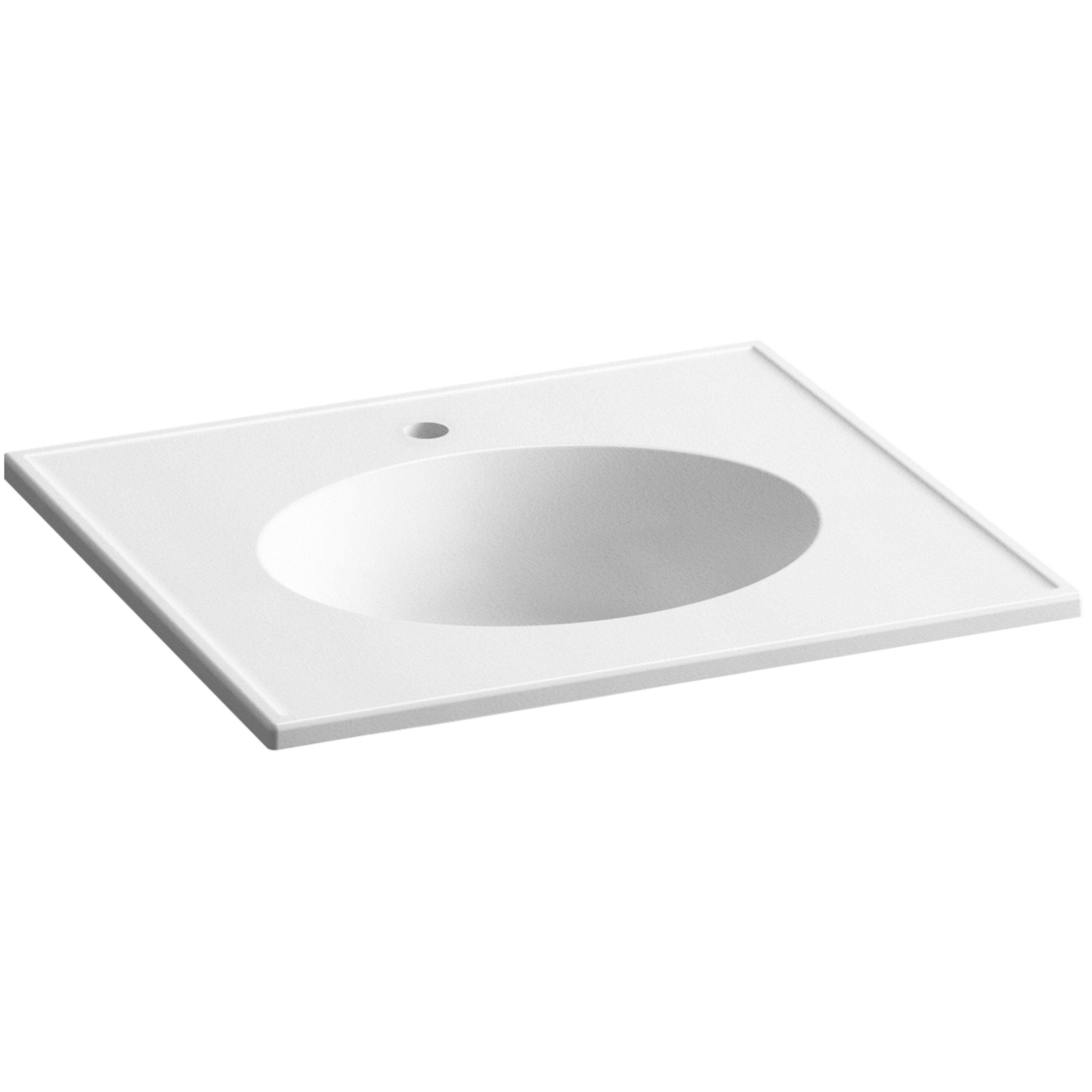 kohler ceramic impressions 25 oval vanity top bathroom sink with single faucet hole wayfair. Black Bedroom Furniture Sets. Home Design Ideas