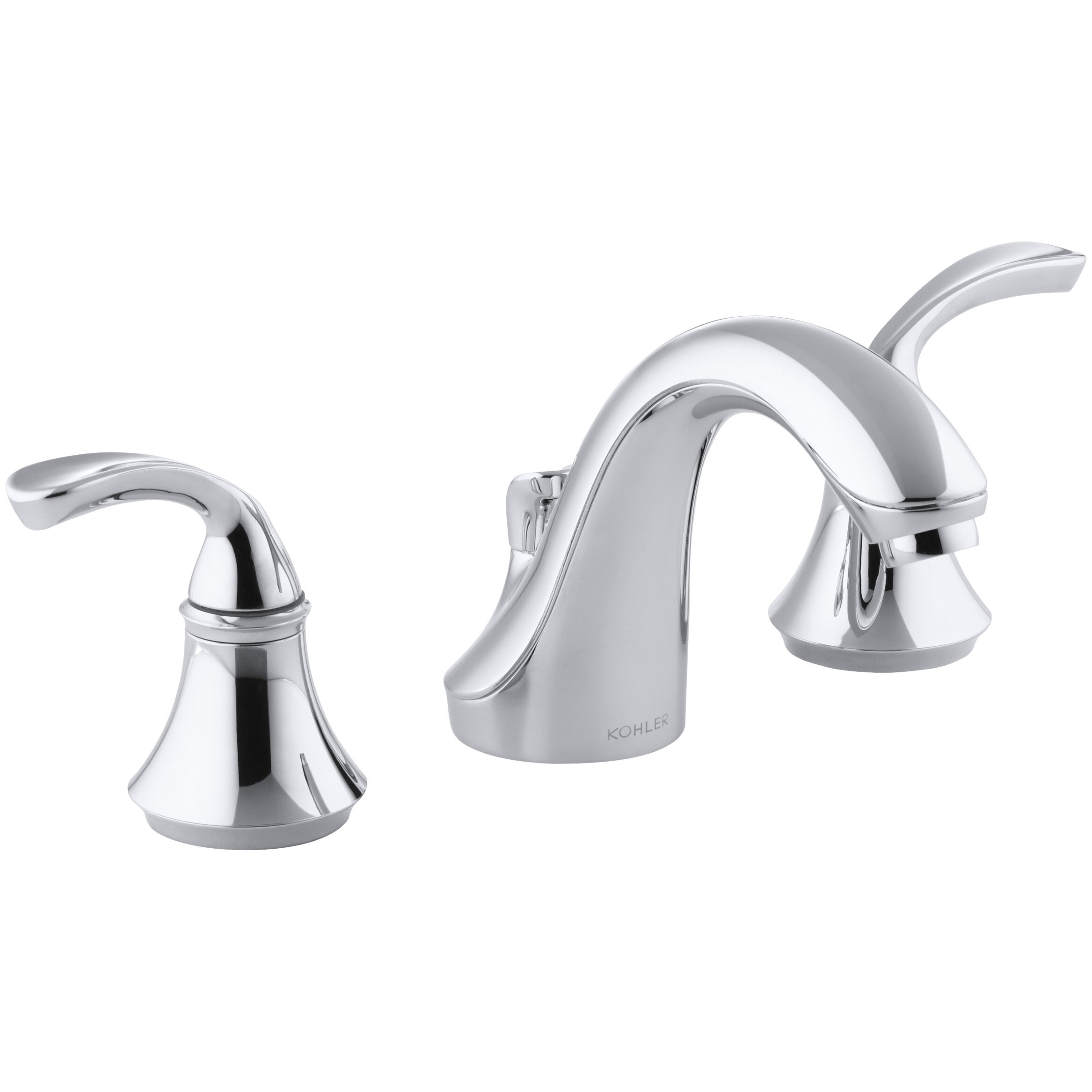Kohler Fort Widespread Commercial Bathroom Sink Faucet With Sculpted Lever Handles Metal Drain