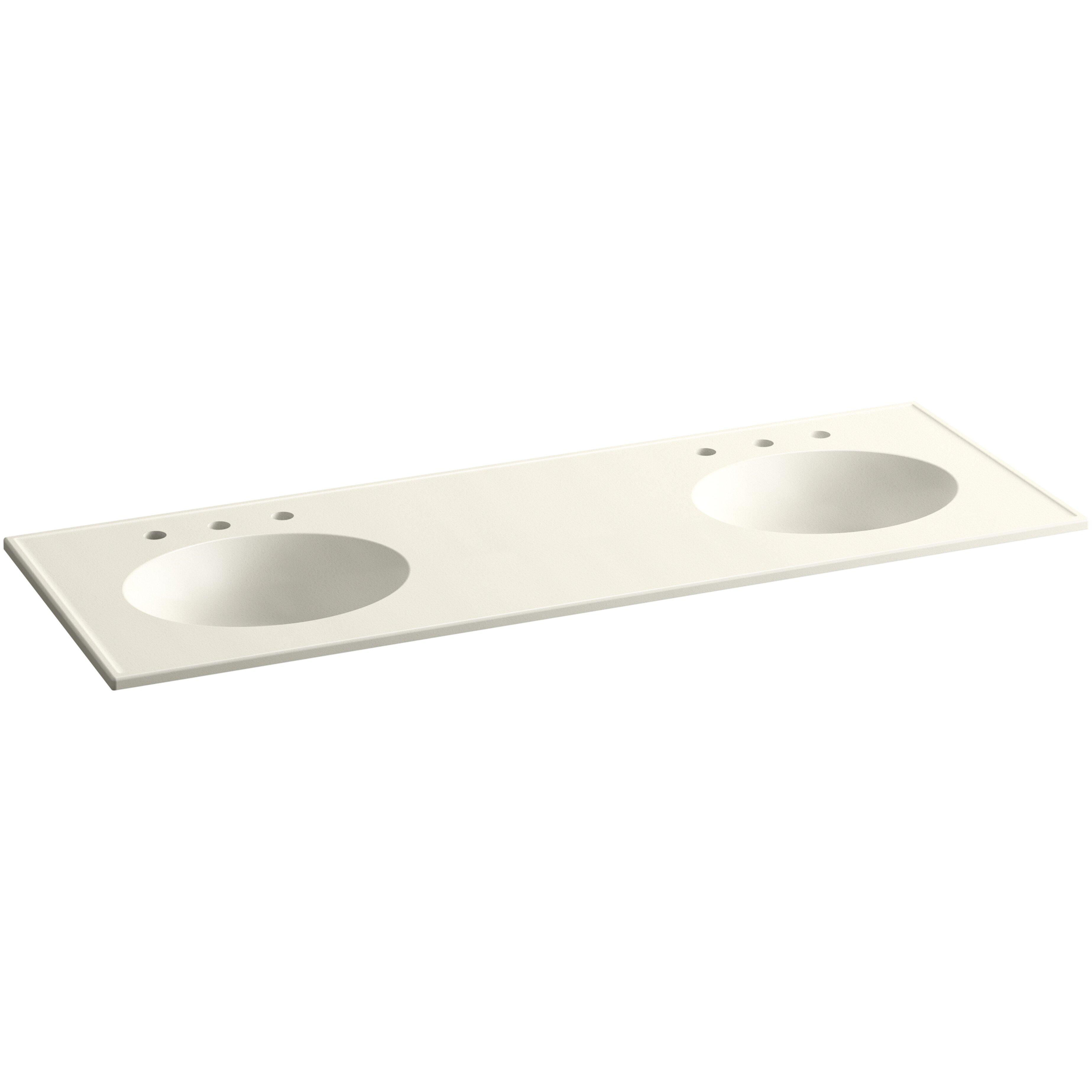 "Kohler Double Bathroom Sink: Kohler Ceramic/Impressions 61"" Oval Double-Bowl Vanity-Top"