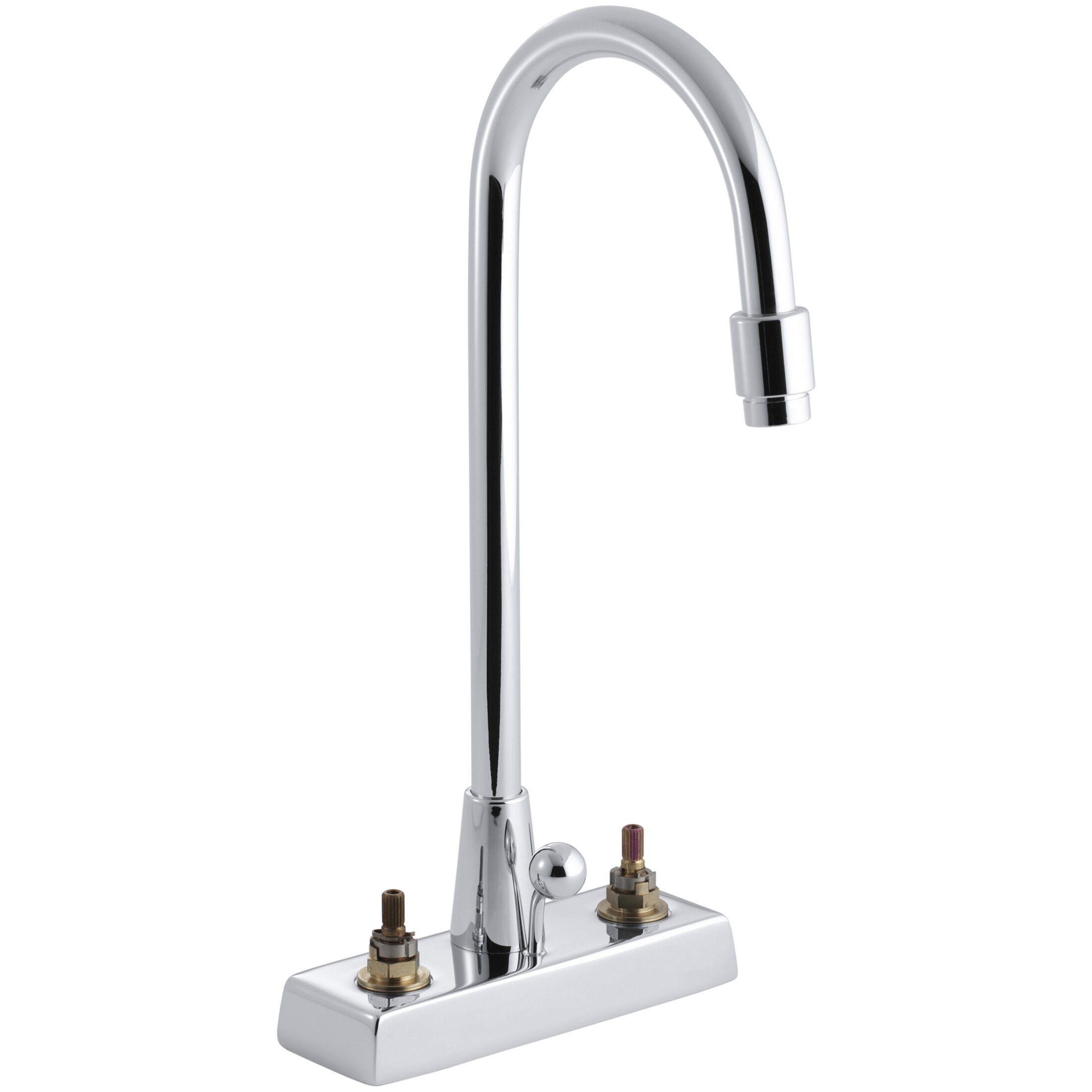 Kohler Triton Centerset Commercial Bathroom Sink Faucet With Gooseneck Spout And Pop Up Drain