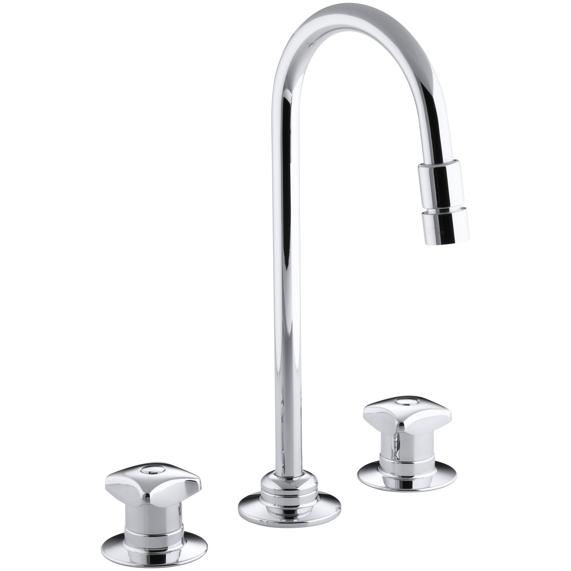Kohler Triton Widespread Commercial Bathroom Sink Faucet With Rigid Connections And Gooseneck