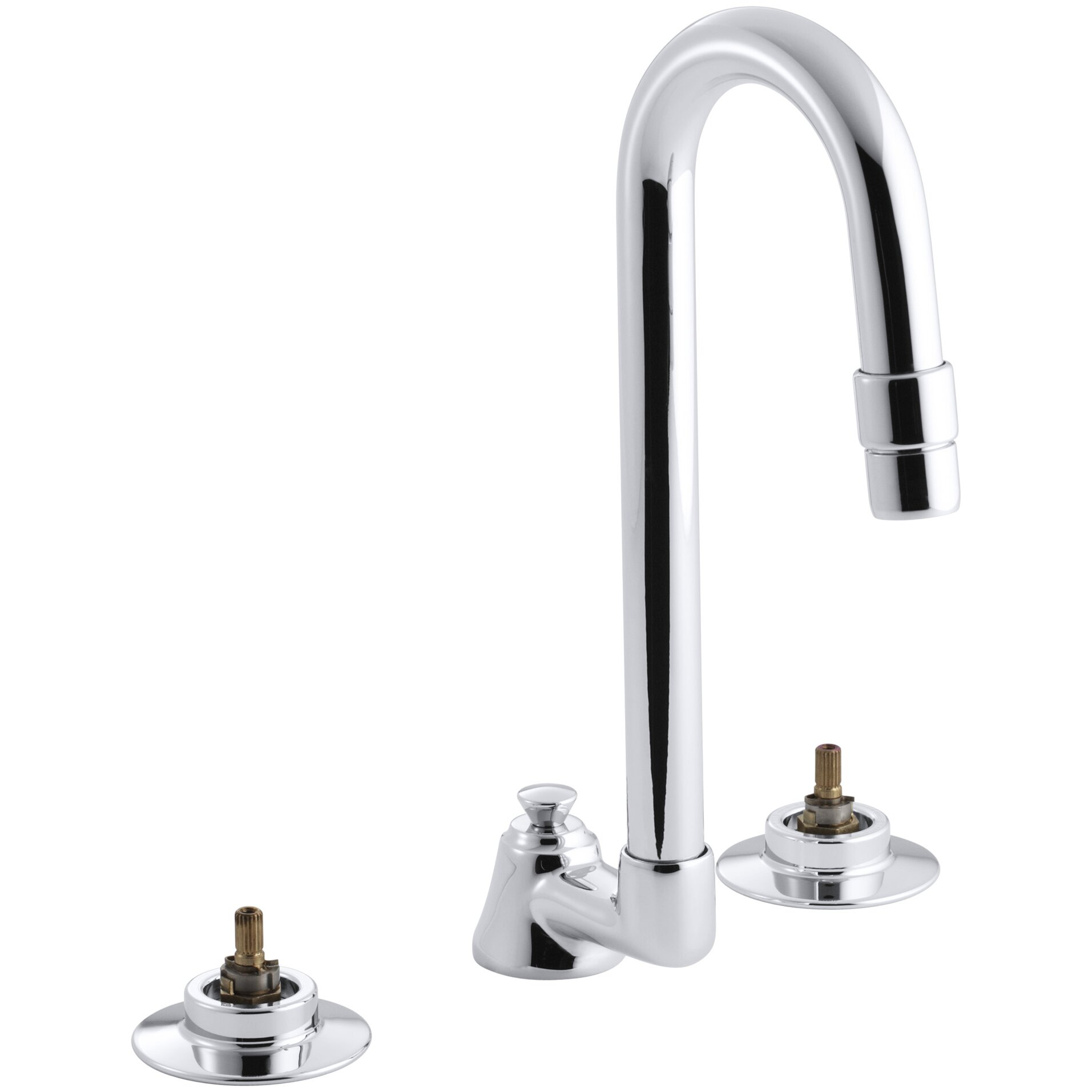 Kohler Triton Widespread Bathroom Sink Base Faucet With Pop Up Drain And Gooseneck Spout Wayfair