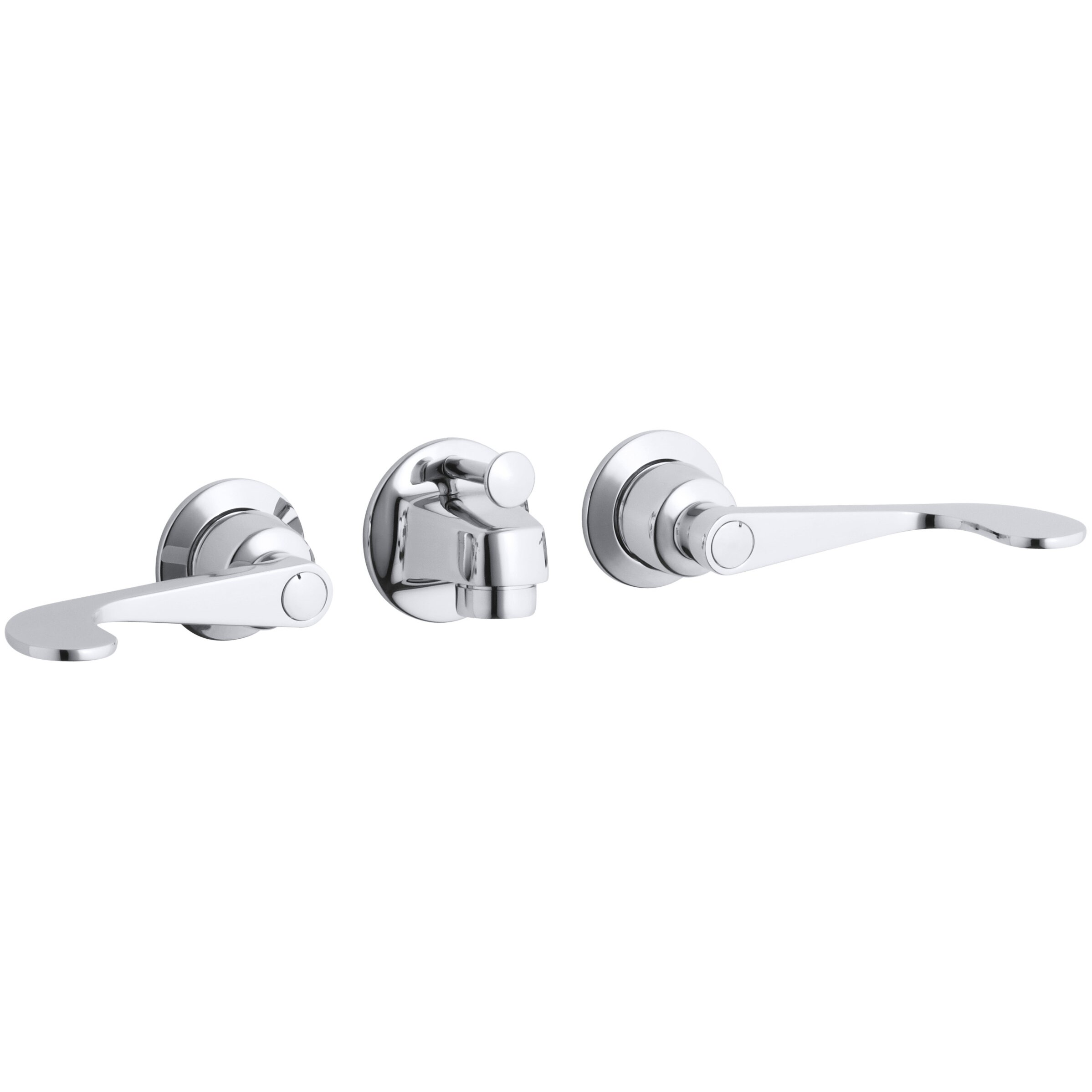 Kohler Triton Shelf Back Commercial Bathroom Sink Faucet With Pop Up Drain And Wristblade Lever
