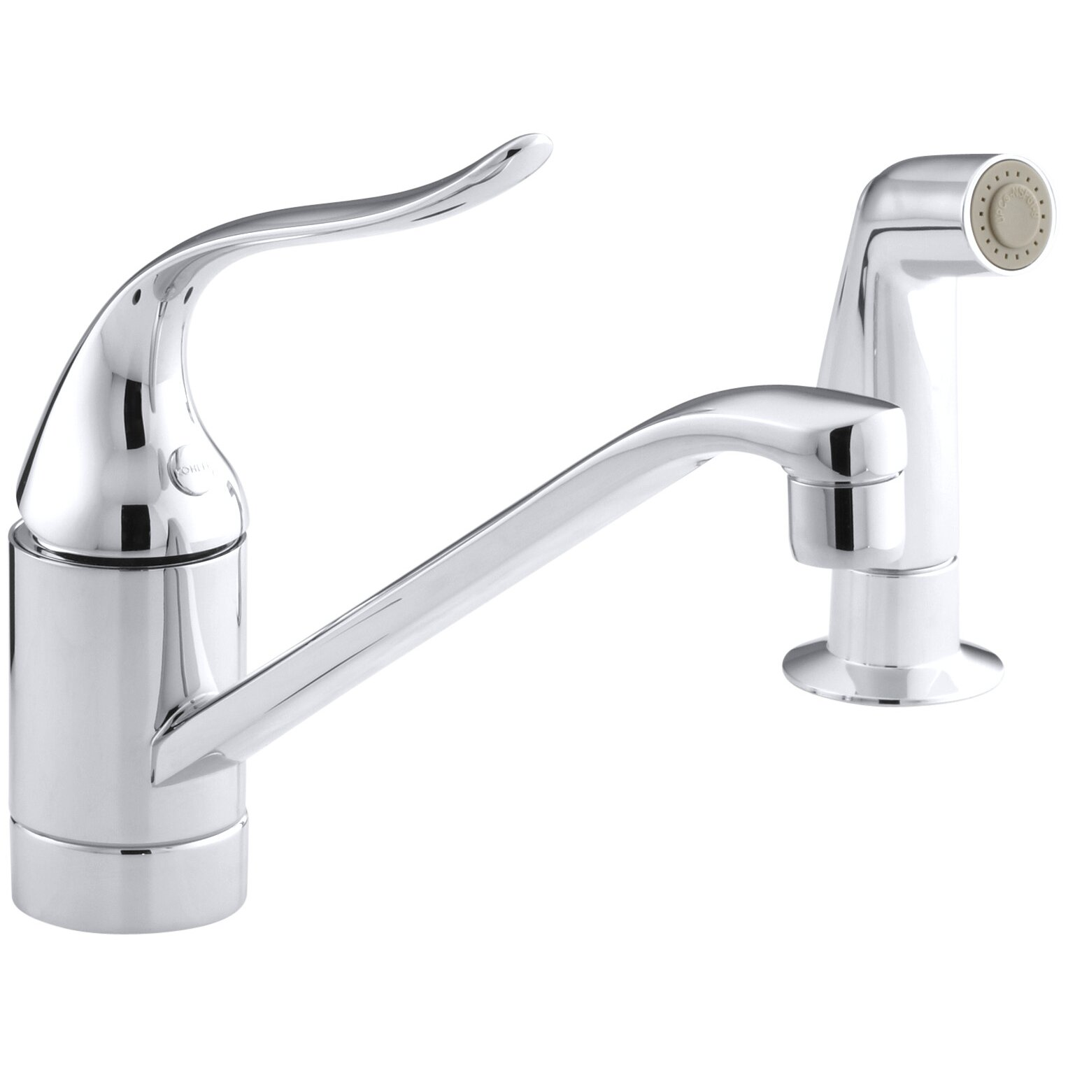 Kohler coralais two hole kitchen sink faucet with 8 1 2 spout matching finish side spray for Kohler coralais bathroom faucet
