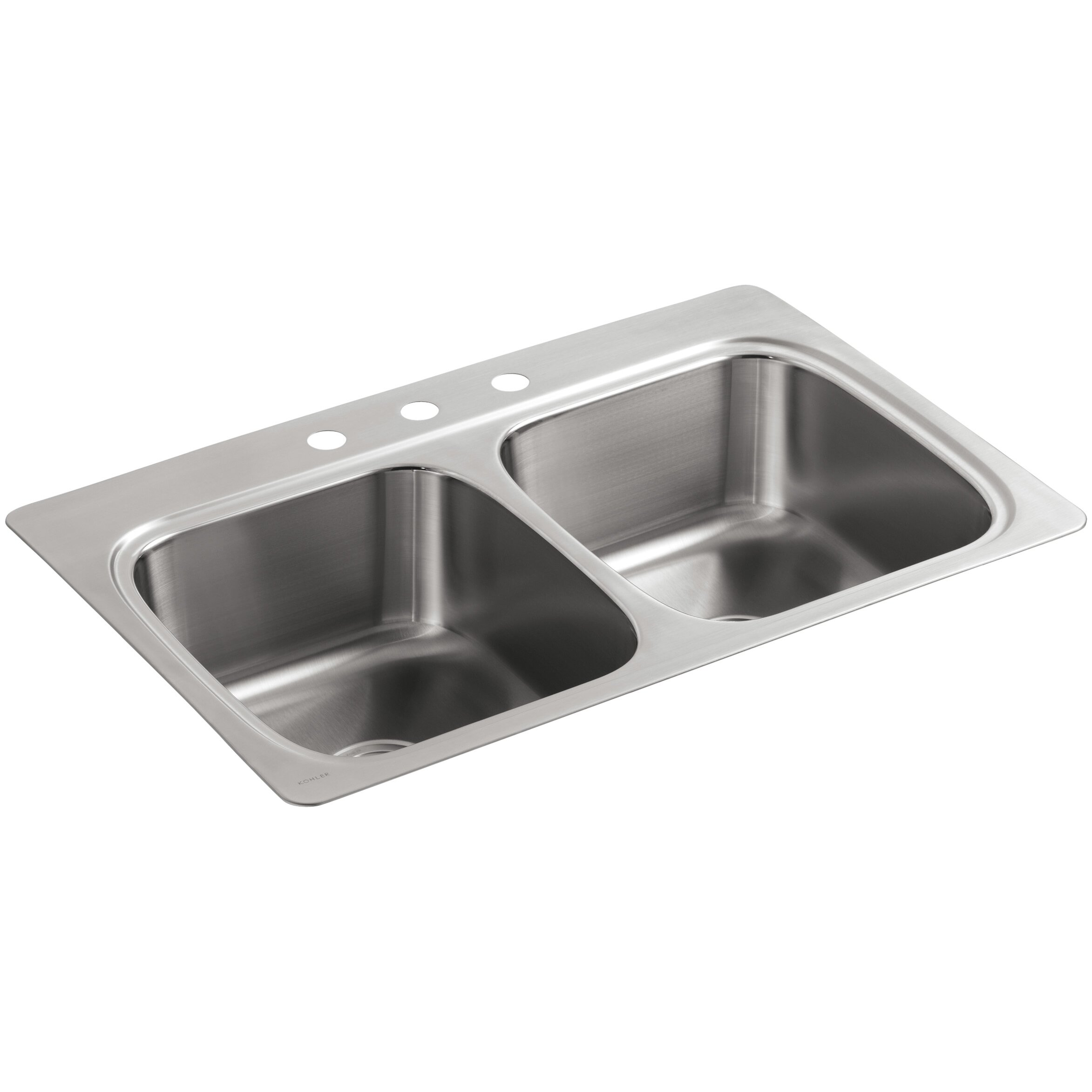 Kohler verse top mount double equal bowl kitchen sink with for Best faucet for kitchen sink