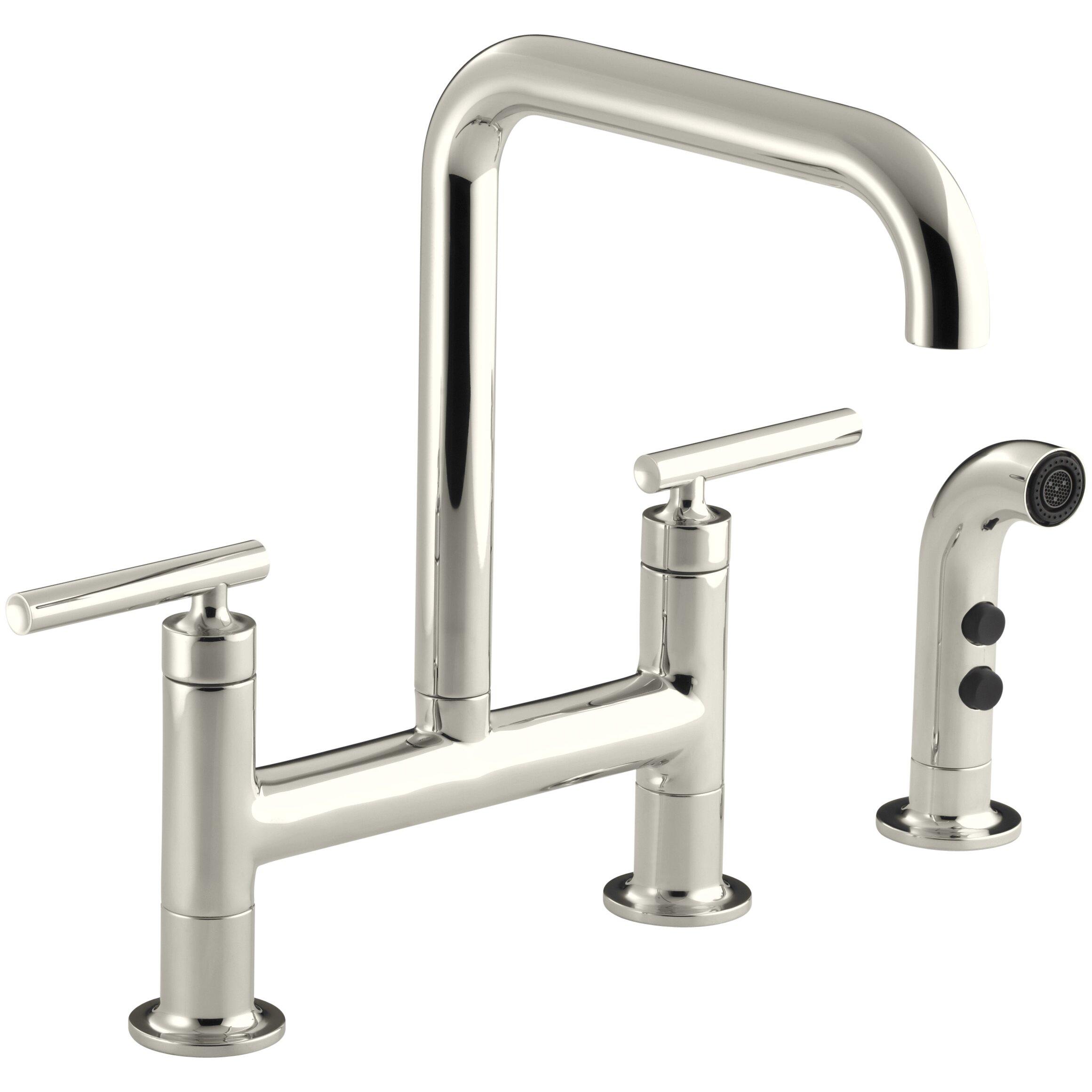 Deck Mount Bridge Kitchen Faucet