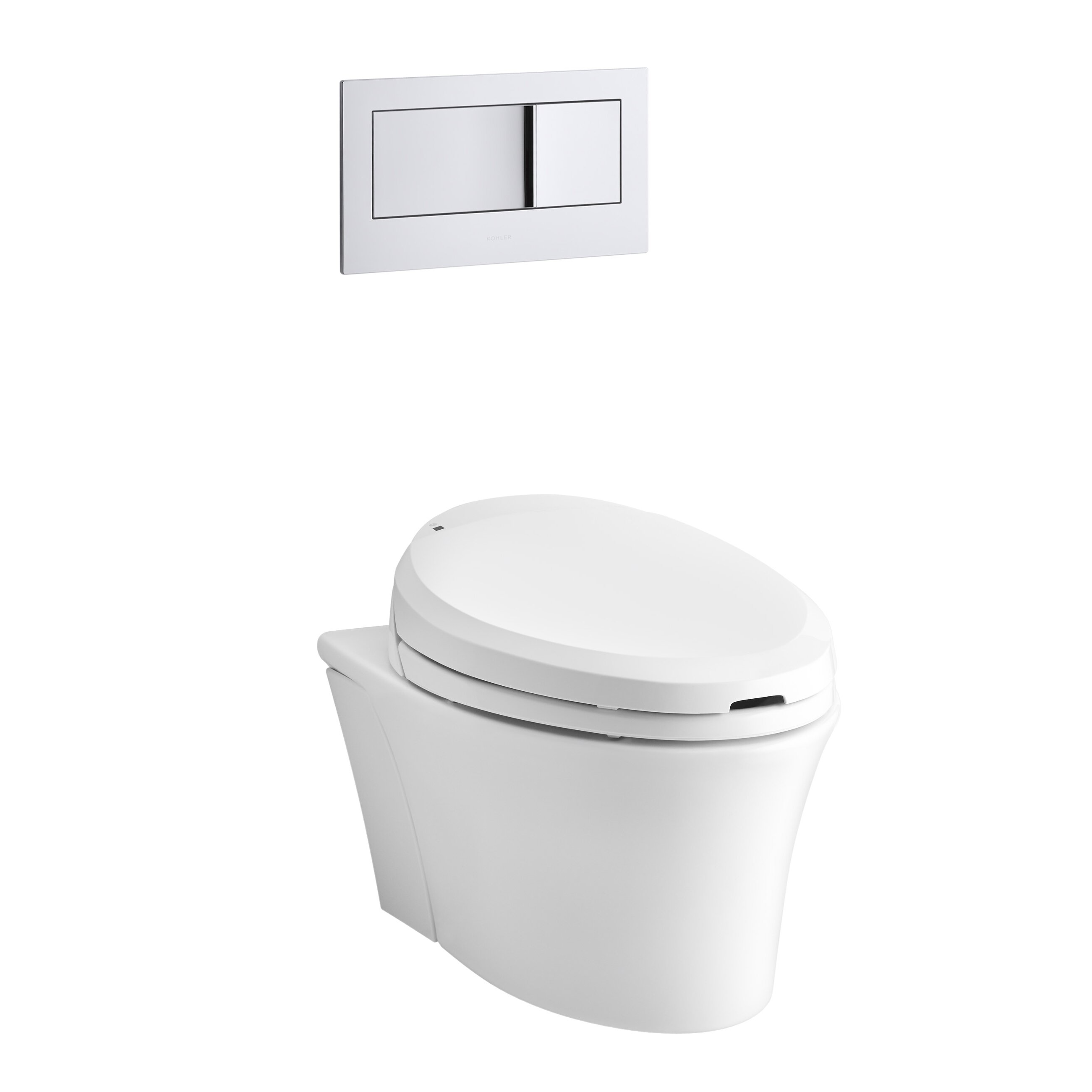 kohler veil one piece elongated dual flush wall hung toilet with c3 bidet toilet seat and 2 x6. Black Bedroom Furniture Sets. Home Design Ideas
