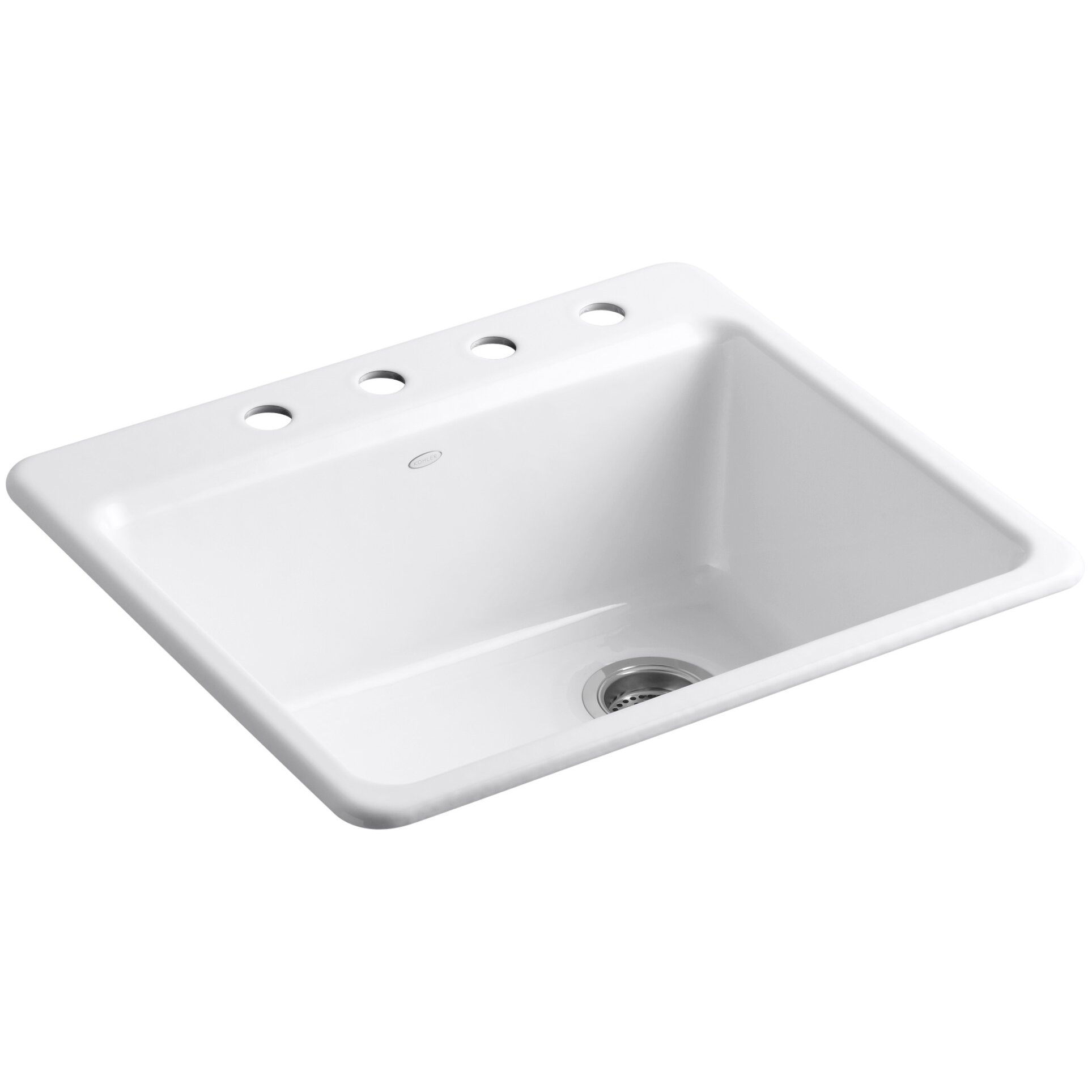 kitchen sink single bowl top mount kohler riverby 25 quot x 22 quot x 9 5 8 quot top mount single bowl 9568