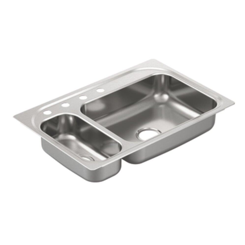 Kitchen Sink Bowl: Moen 2000 Series Double Bowl Drop-In Kitchen Sink