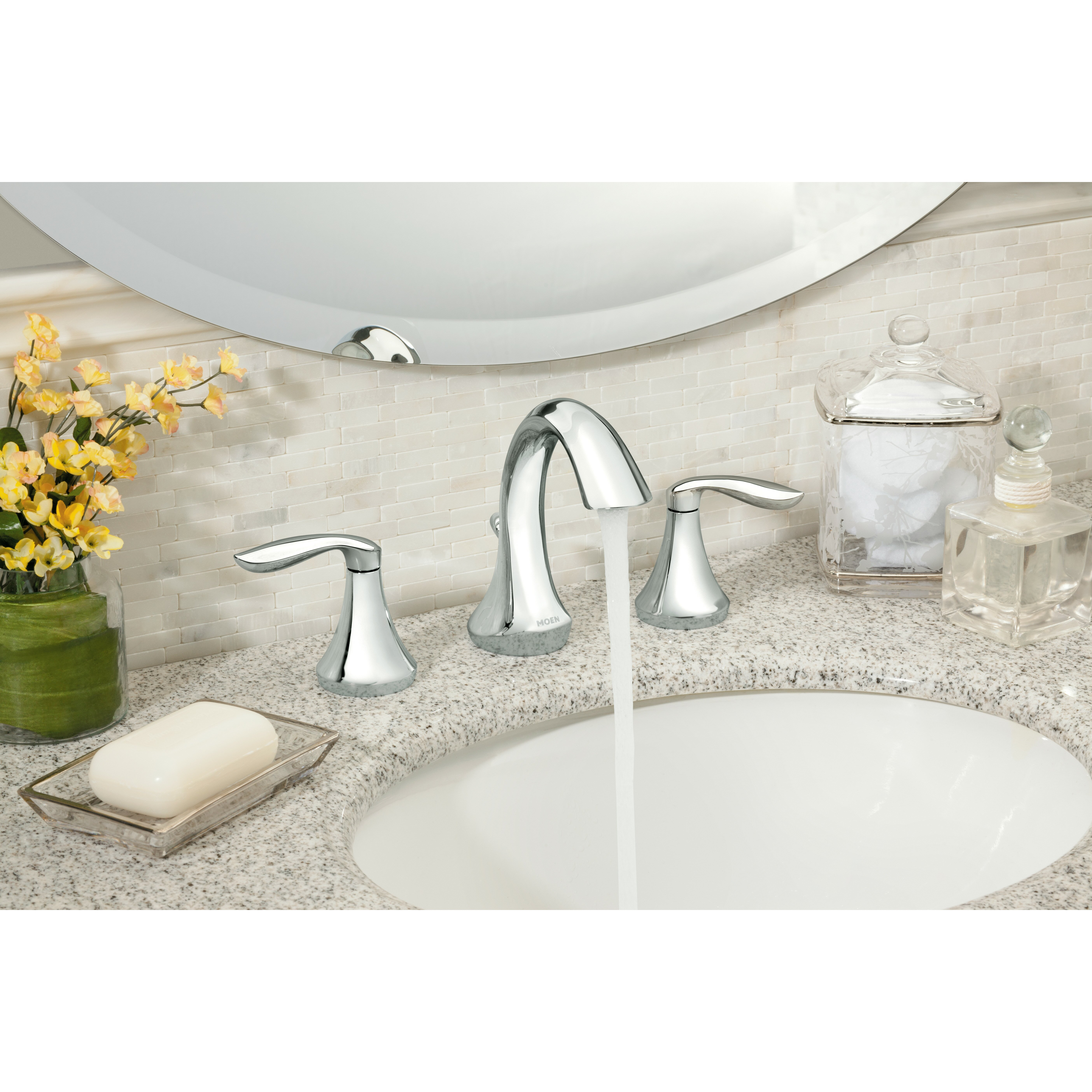 Moen eva double handle widespread bathroom faucet reviews wayfair for How to clean pitted chrome bathroom fixtures